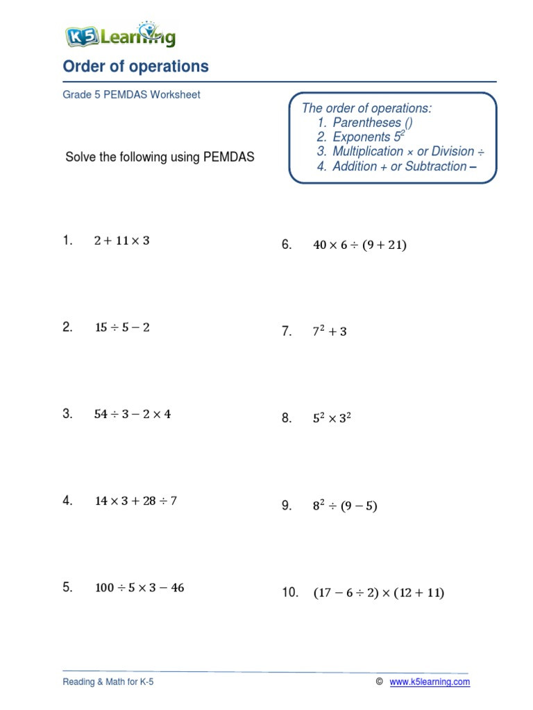 5th Grade Pemdas Worksheets Grade 5 order Operations B