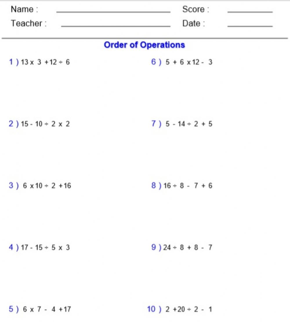 5th Grade Pemdas Worksheets order Of Operations Mdas Interactive Worksheet
