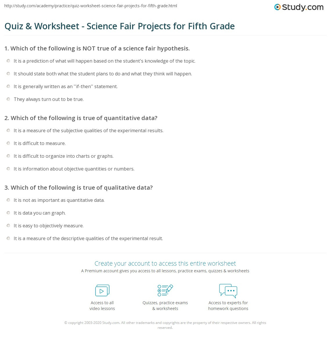 5th Grade Science Practice Worksheets Quiz & Worksheet Science Fair Projects for Fifth Grade