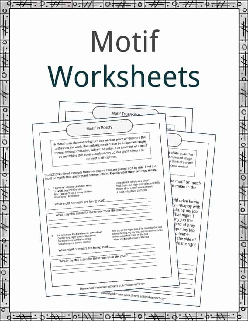 5th Grade theme Worksheets Motif Examples Definition and Worksheets