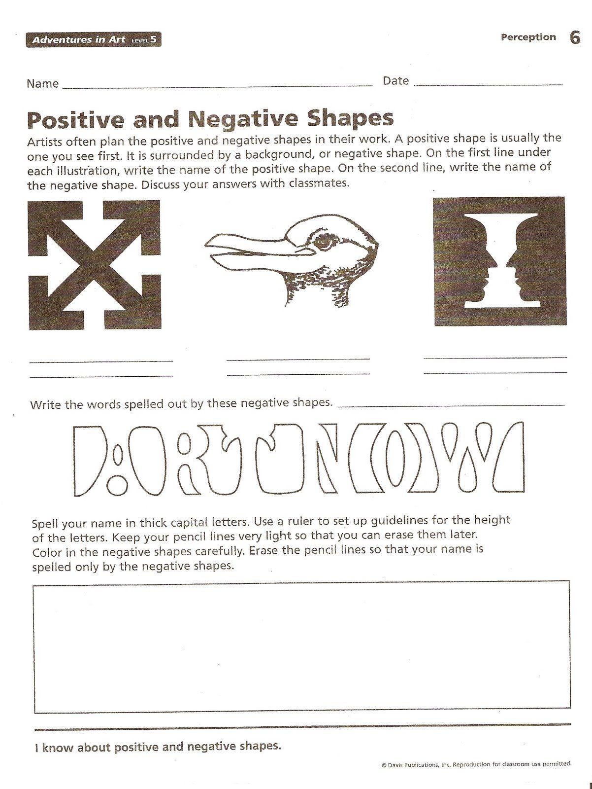 6th Grade Art Worksheets 6th Grade Negative Space Homework Art Lessons Middle