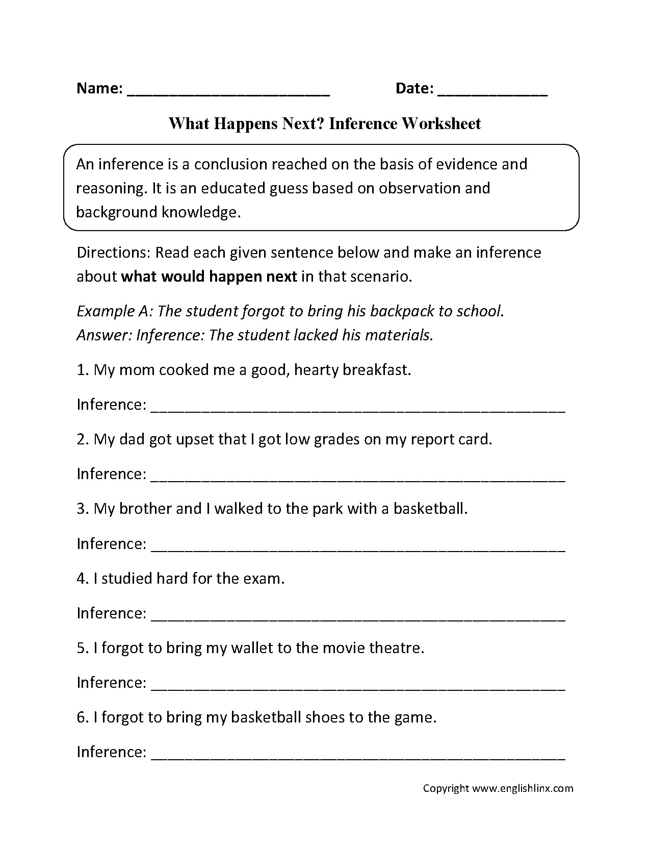 6th Grade istep Practice Worksheets Making Inferences Worksheets Grade 3