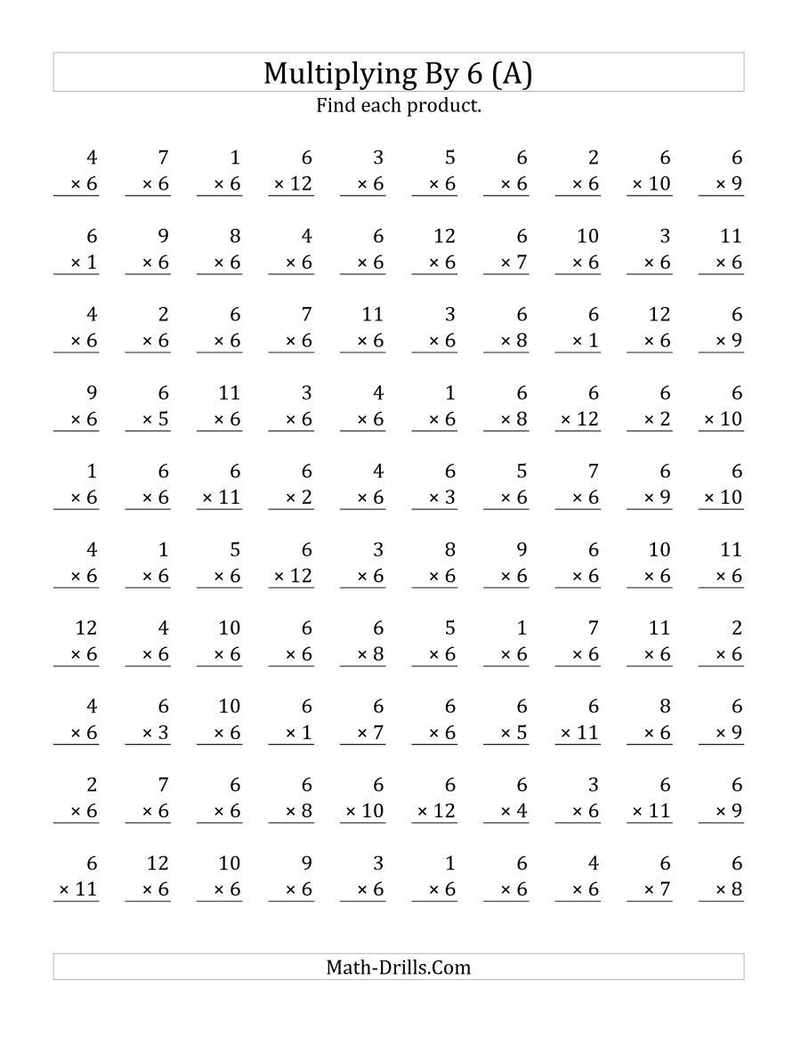 6th Grade istep Practice Worksheets the Multiplying 1 to 12 by 6 A Math Worksheet From the