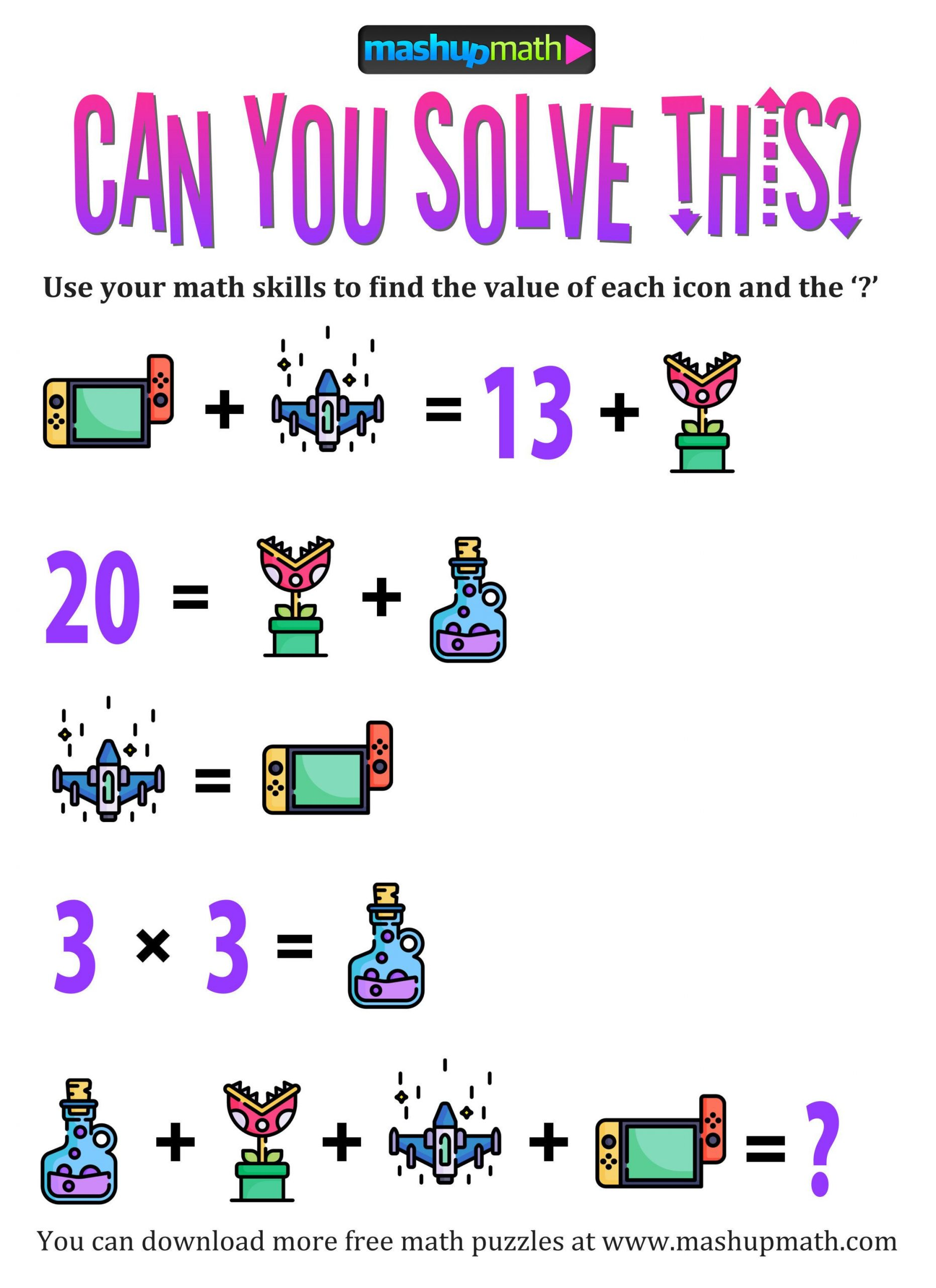6th Grade Math Puzzles Printable Pin by –zge Bal On Critical Thinking Skills