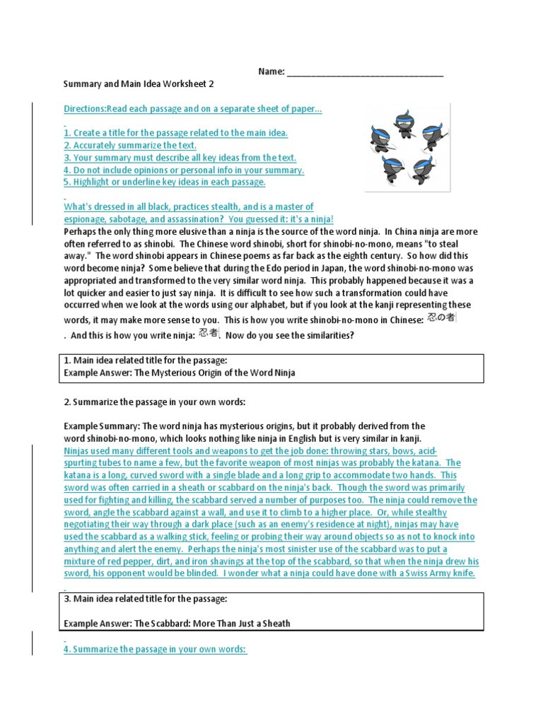 8th Grade Main Idea Worksheets Summary and Main Idea Worksheet 1 Promotiontablecovers