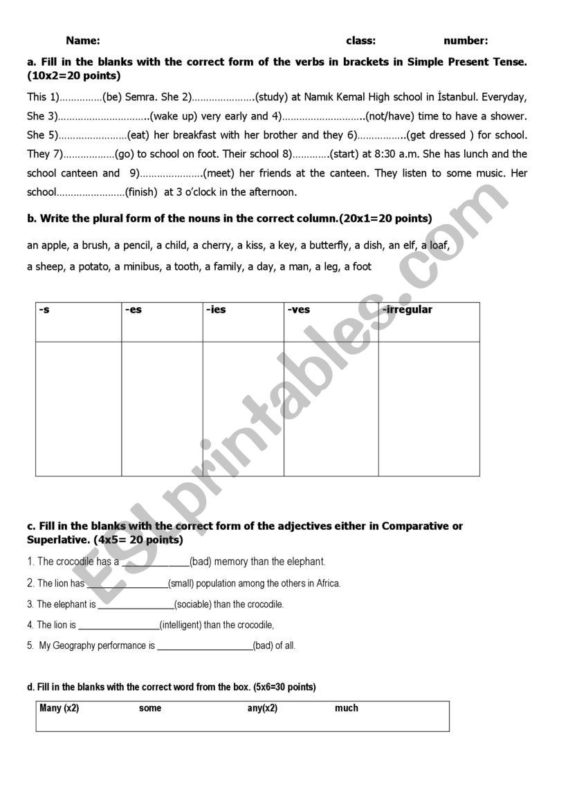 9th Grade Printable Worksheets Revision Test for 9th Grade Esl Worksheet by Ggonca