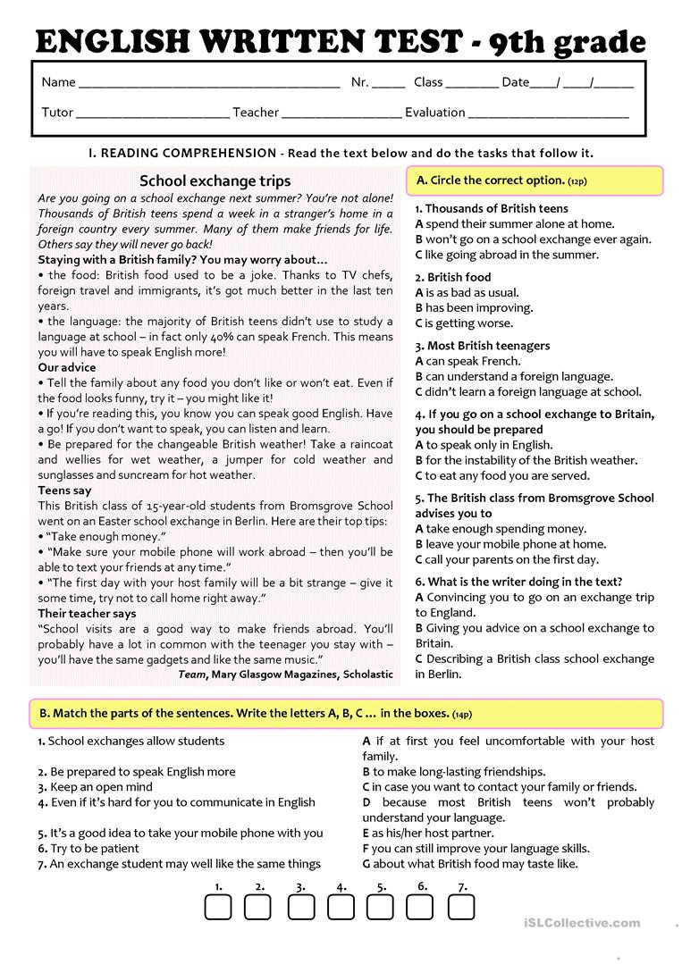 9th Grade Reading Worksheets Exchange Programmes Test A2 B1 9th Grade Version A