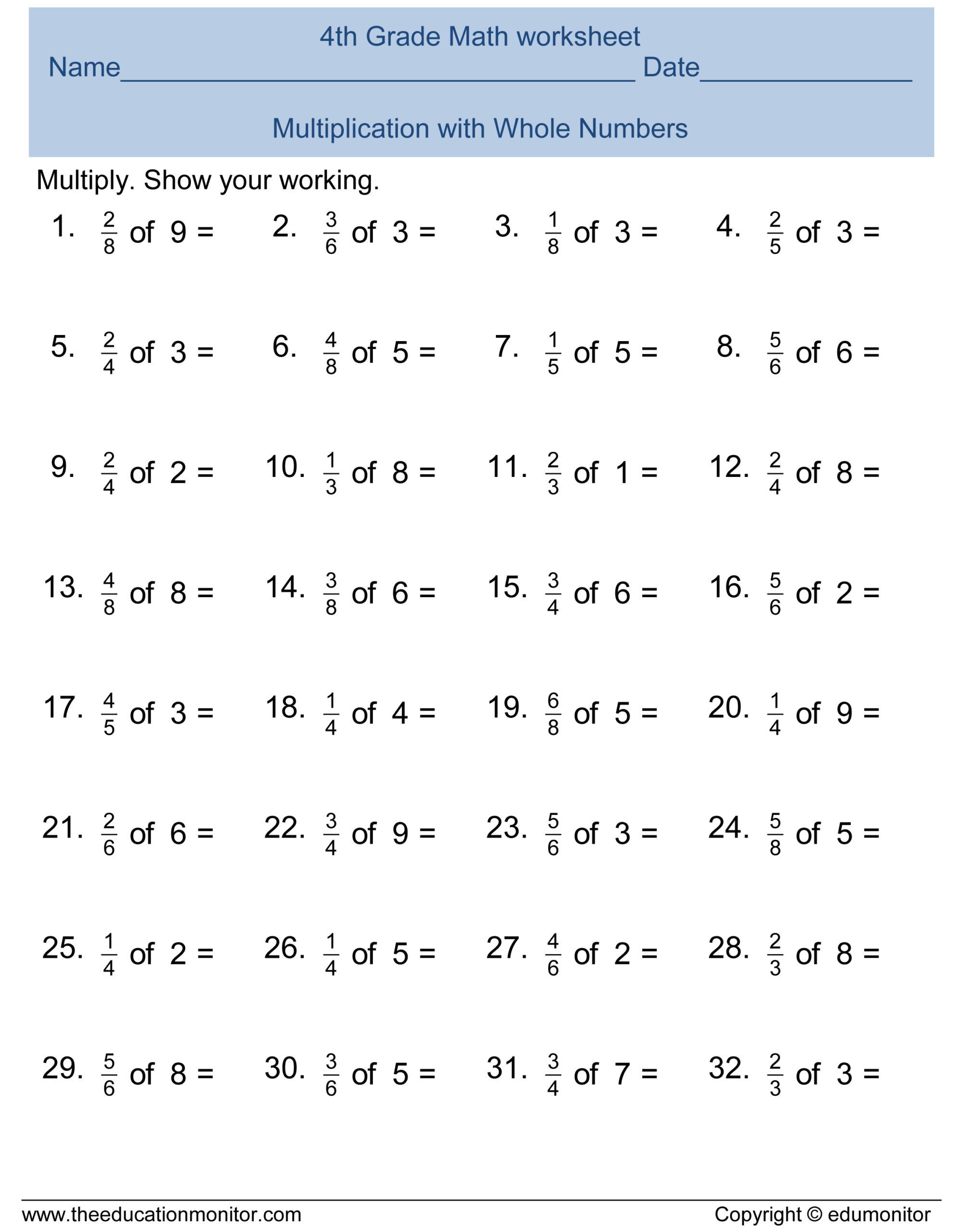Abeka 5th Grade Math Worksheets Free 4th Grade Fractions Math Worksheets and Printables