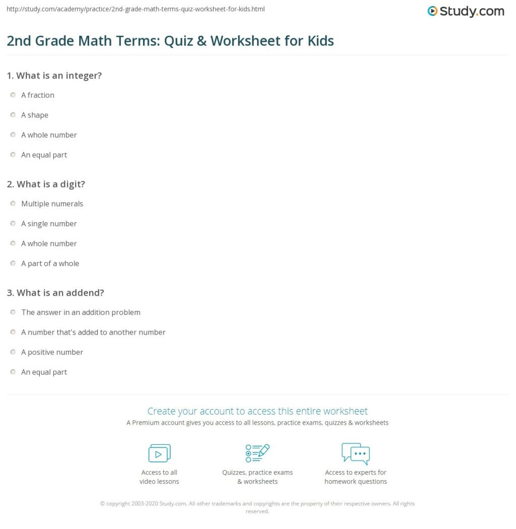 Abeka 5th Grade Math Worksheets Worksheet 2nd Gra Terms Quiz Worksheet for Kids Study