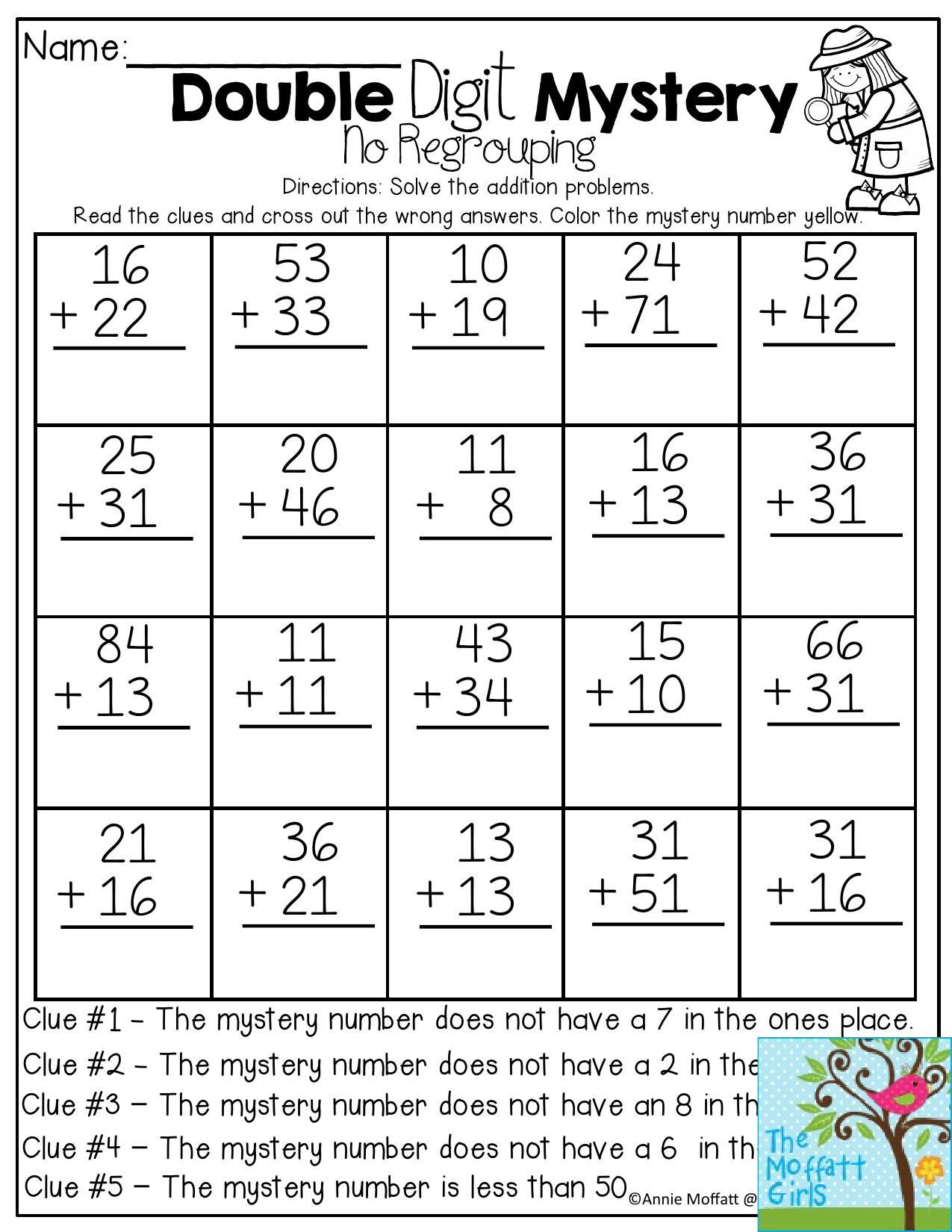 Adding Doubles Worksheet 2nd Grade Back to School Packets