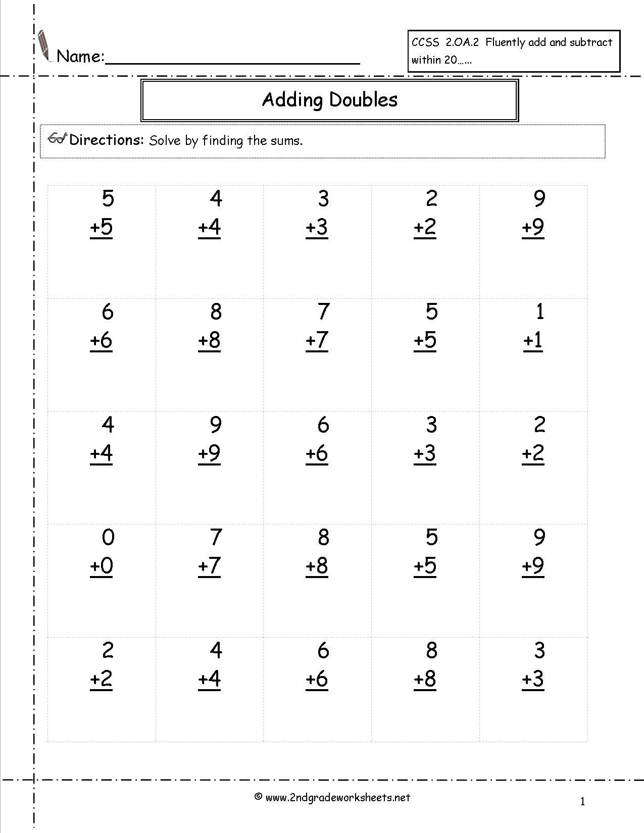 Adding Doubles Worksheet 2nd Grade Doubles Facts Worksheet