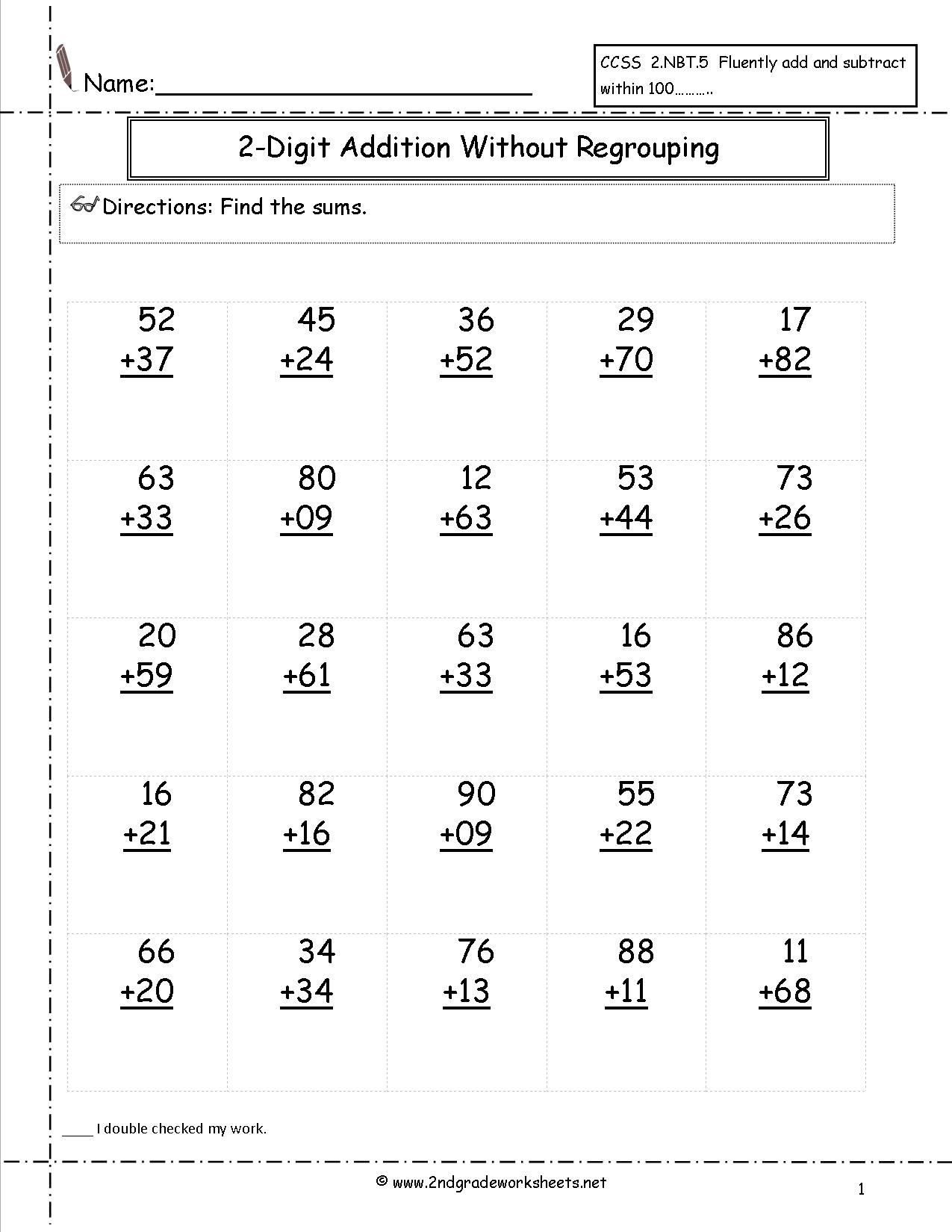 Adding Doubles Worksheet 2nd Grade Free Addition Printable Worksheets