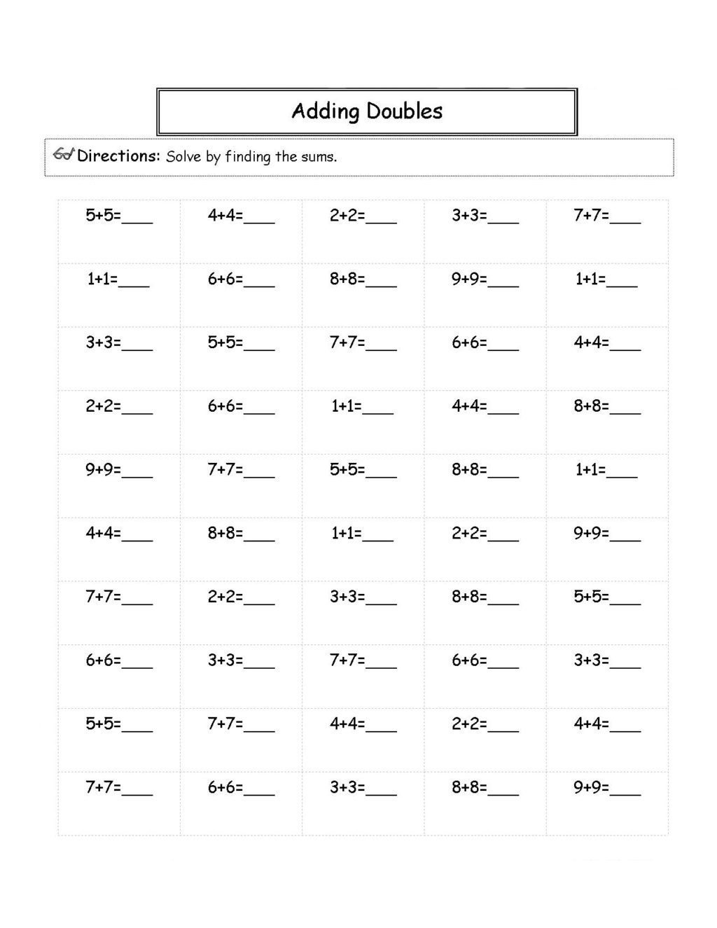 Adding Doubles Worksheet 2nd Grade Worksheet 2nd Grade Math Worksheets Best Coloring Pages