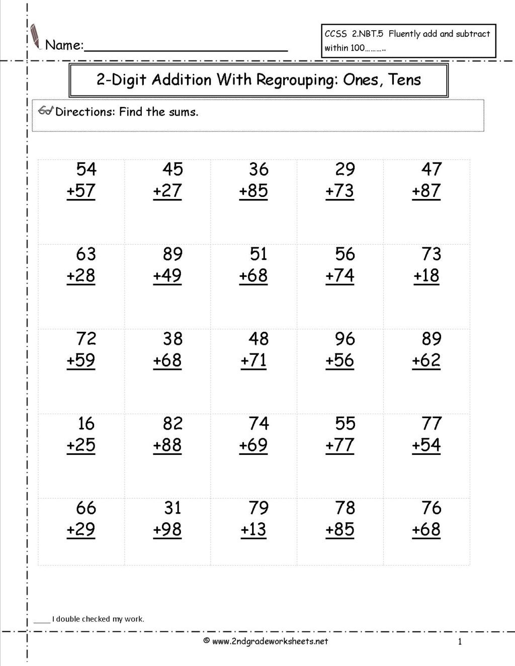 Adding Doubles Worksheet 2nd Grade Worksheet Addition withrouping Worksheets 2nd Grade