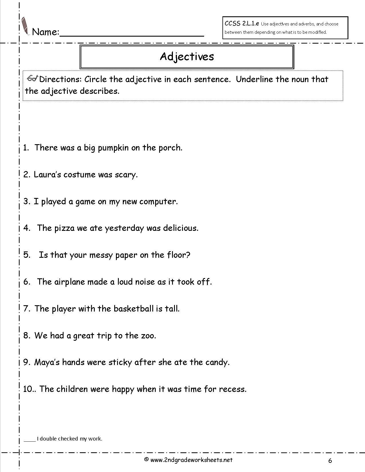 Adjectives Worksheets for Grade 2 Adjectives Worksheet for First Grade