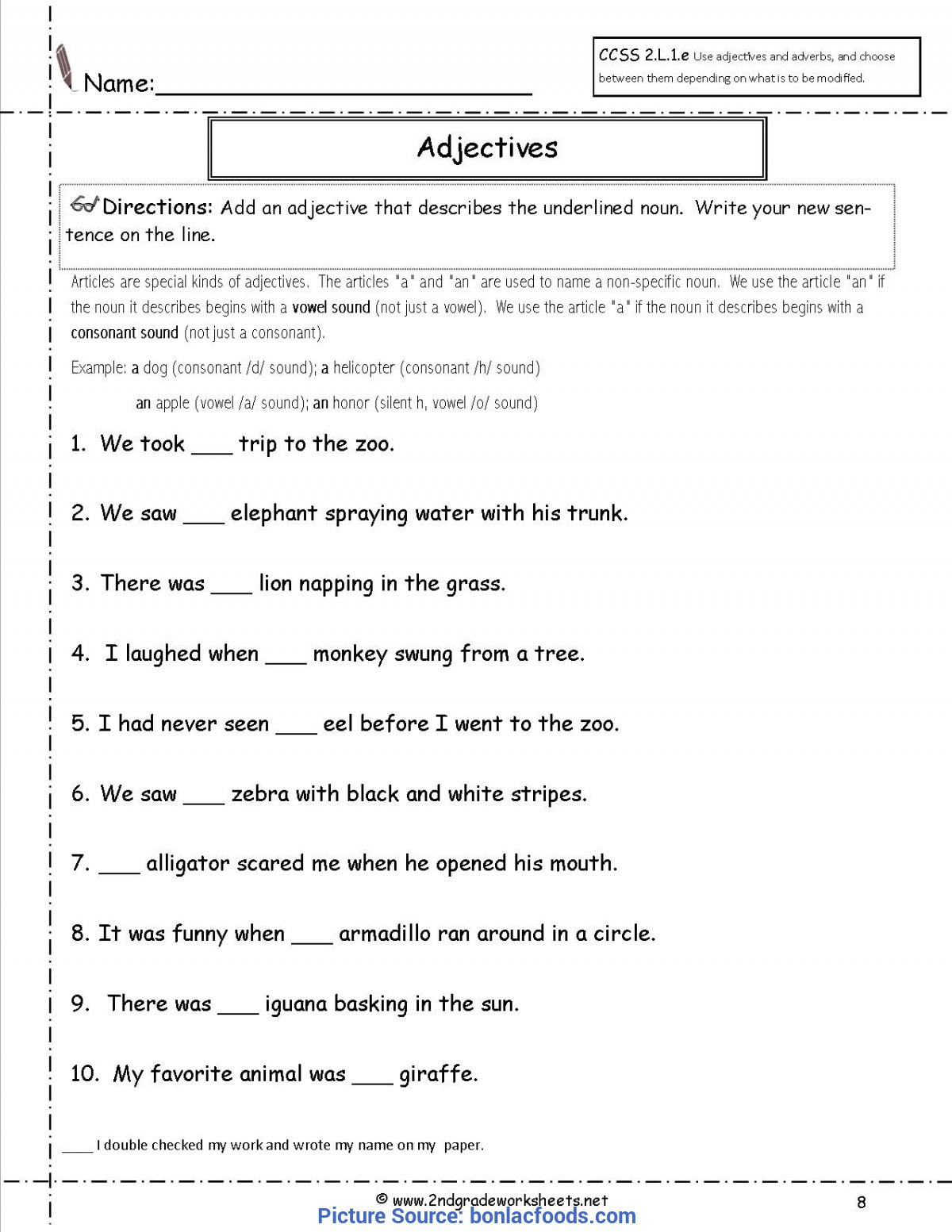 Adjectives Worksheets for Grade 2 Valuable 2nd Grade Lesson Plans Adjectives Worksheets for