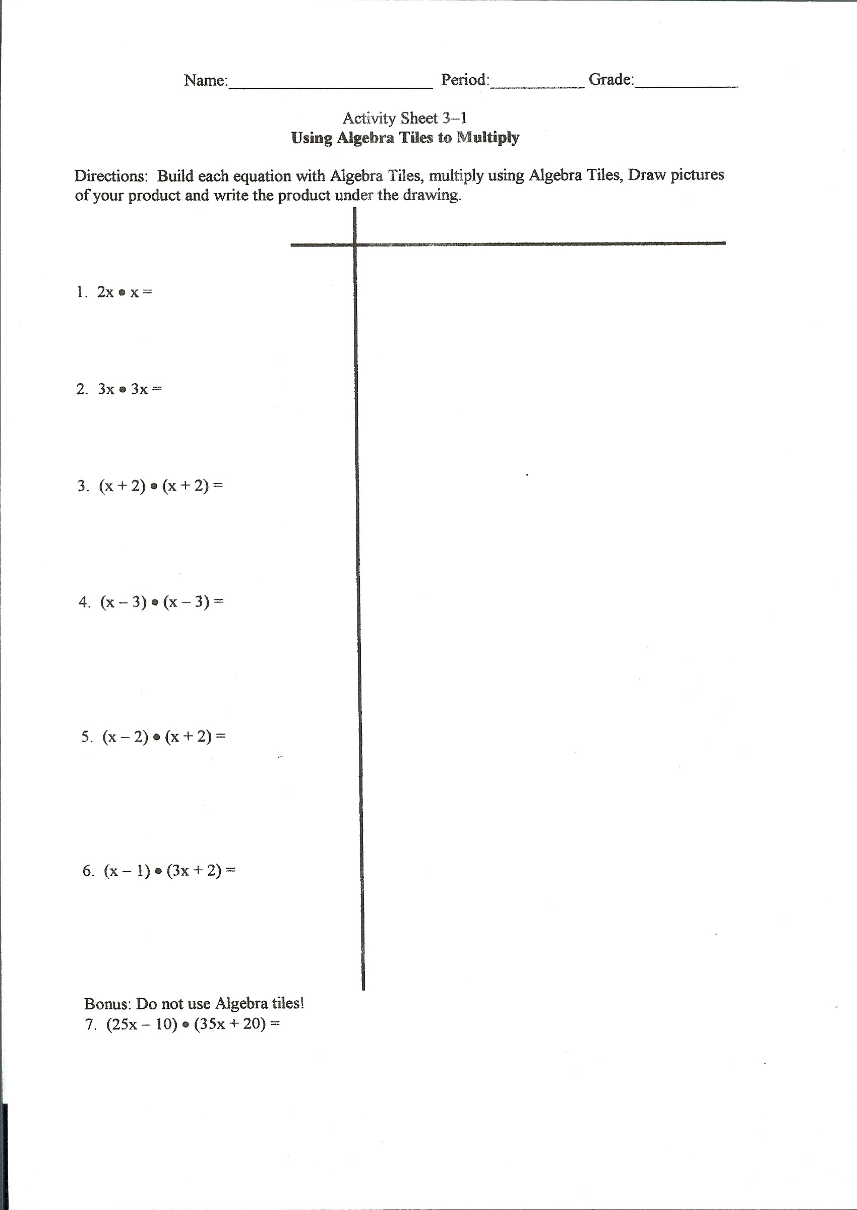 Algebra Tiles Worksheets 6th Grade solving Equations with Variables Both Sides Using Algebra