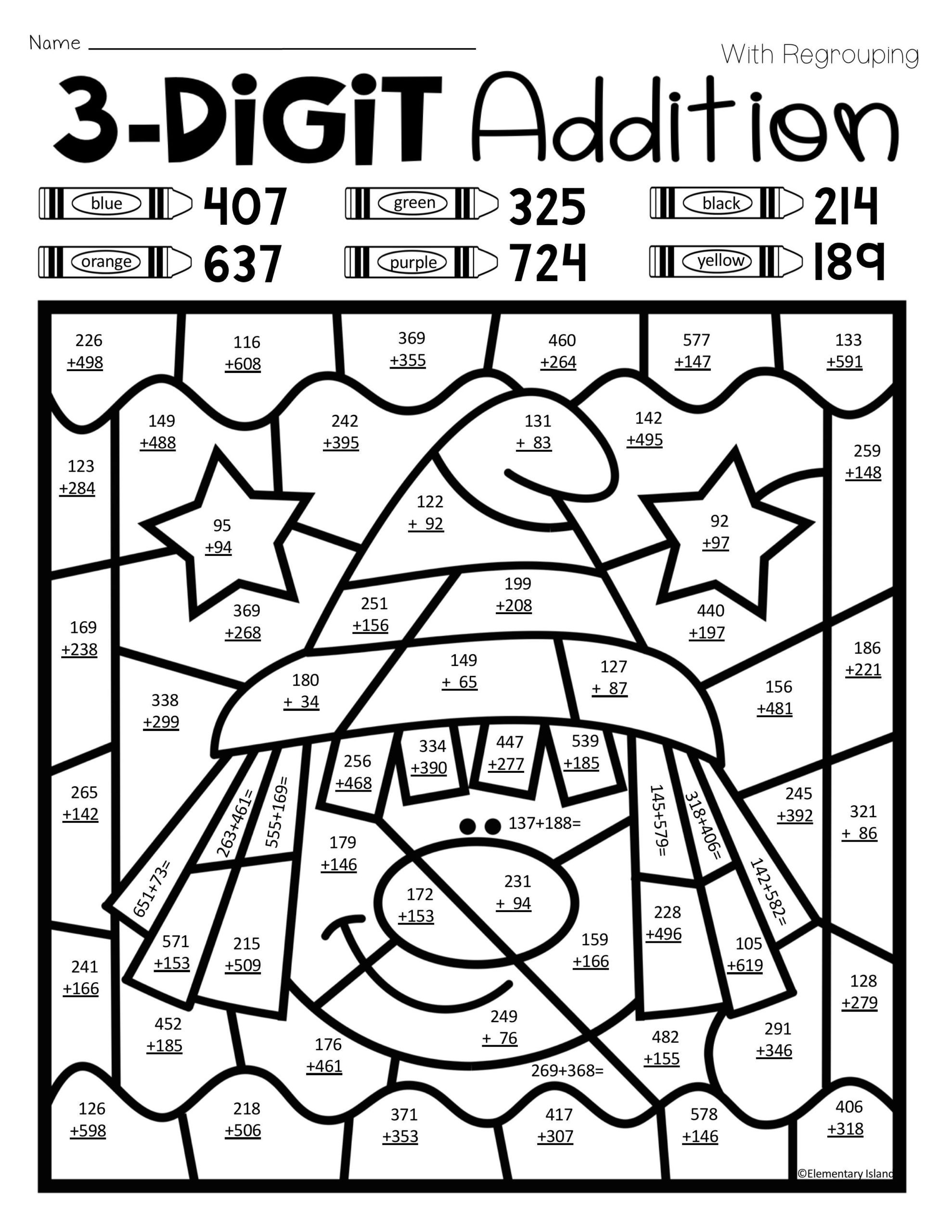 Aloha Math Worksheets Halloween Three Digit Addition Color by Number with and