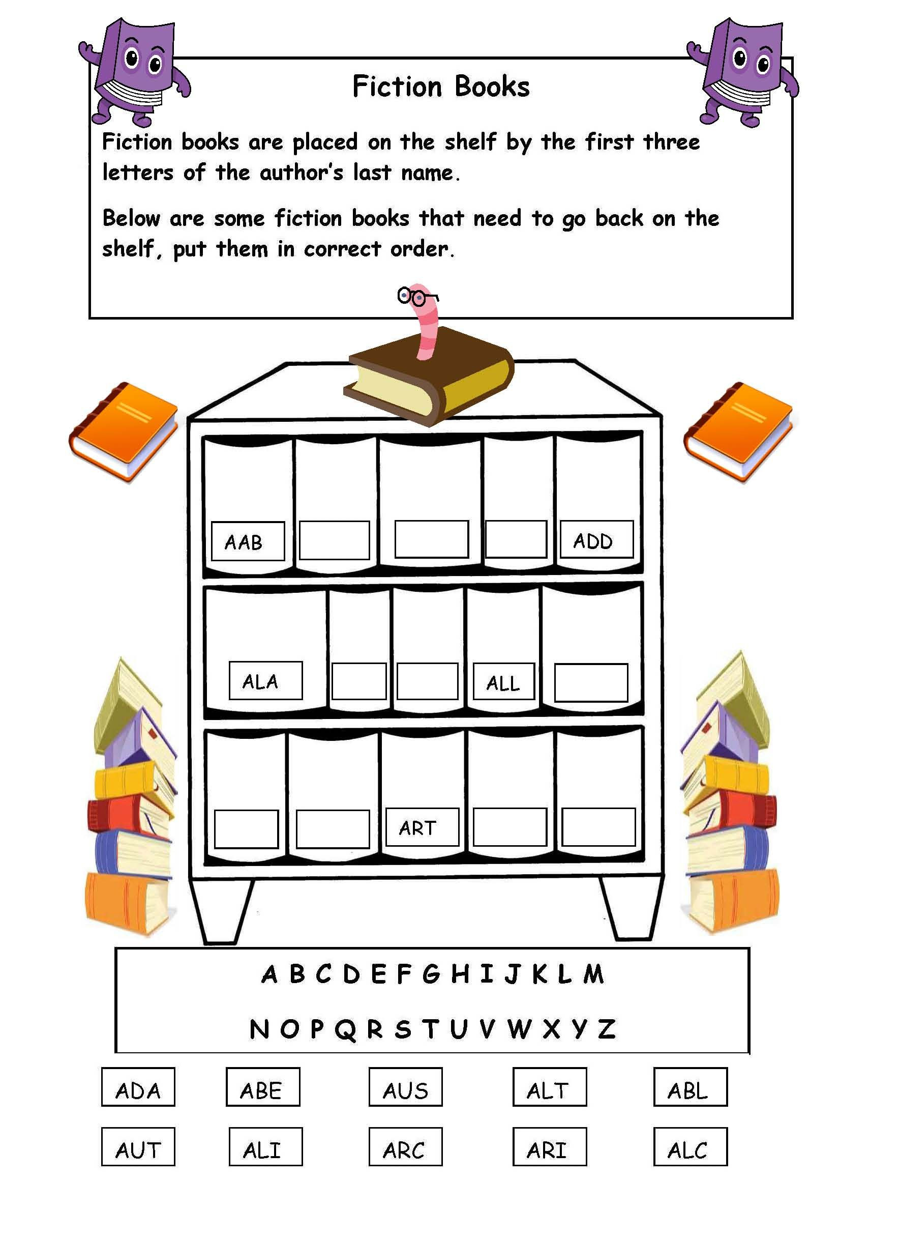 Alphabetical order Worksheets 2nd Grade Alphabetical order the Shelf Worksheet Library Skills