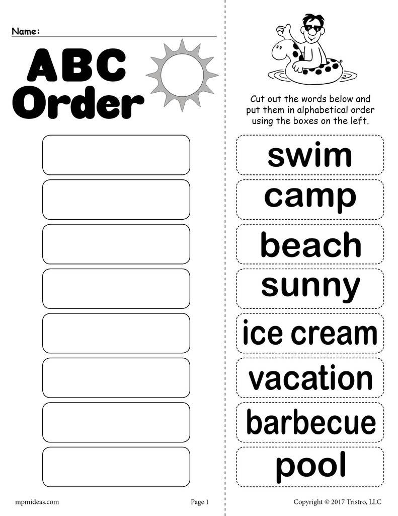 Alphabetical order Worksheets 2nd Grade Summer Alphabetical order Worksheet