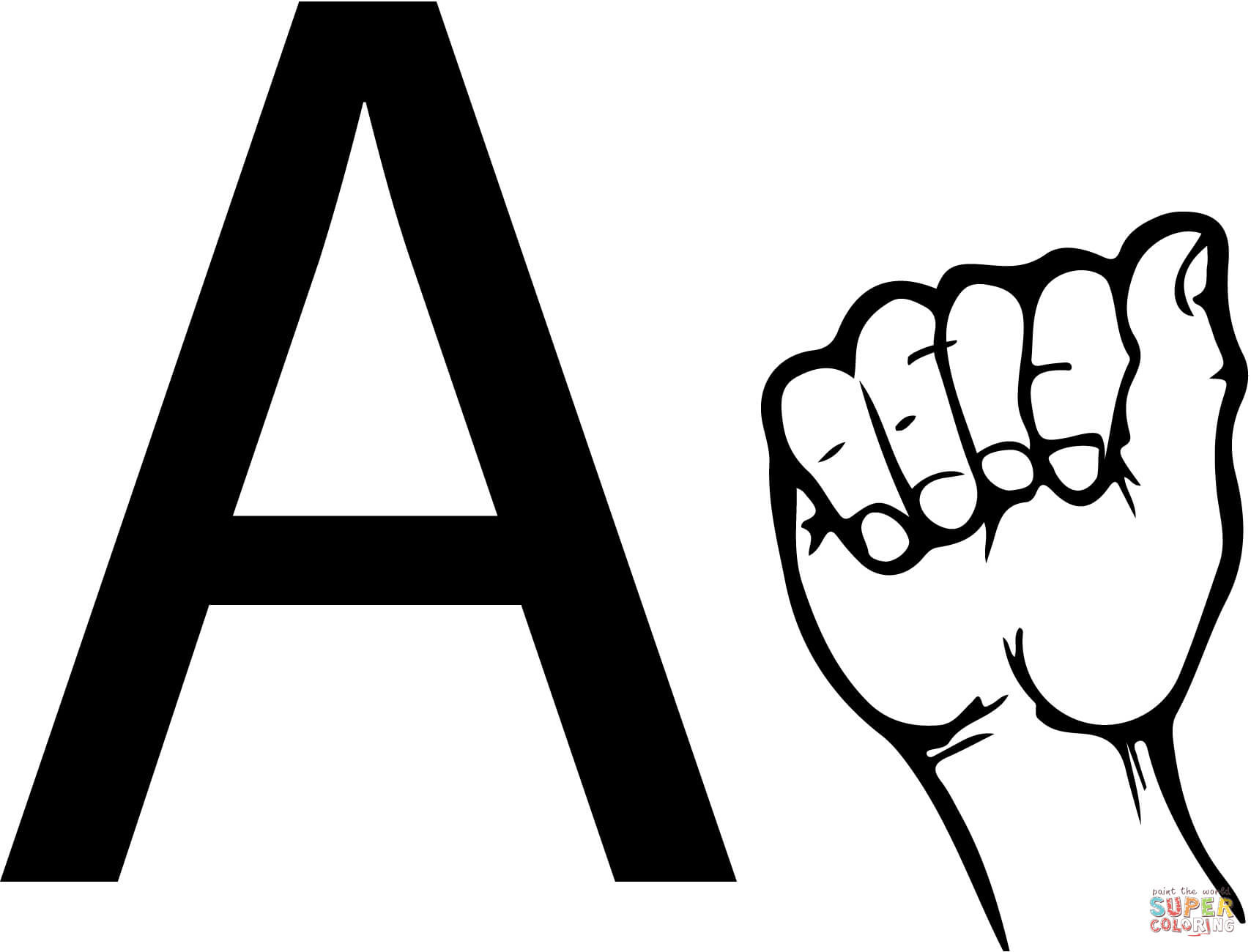 American Sign Language Worksheets Printable asl Sign Language Letter A Coloring Page