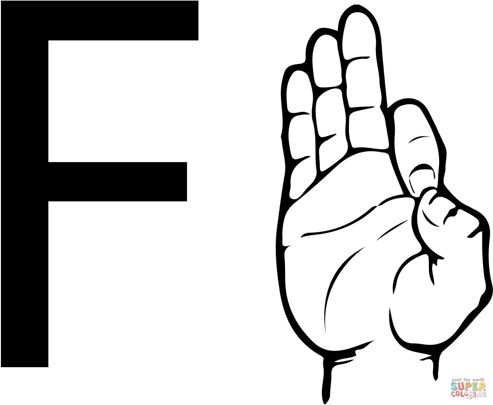 American Sign Language Worksheets Printable asl Sign Language Letter F Coloring Page