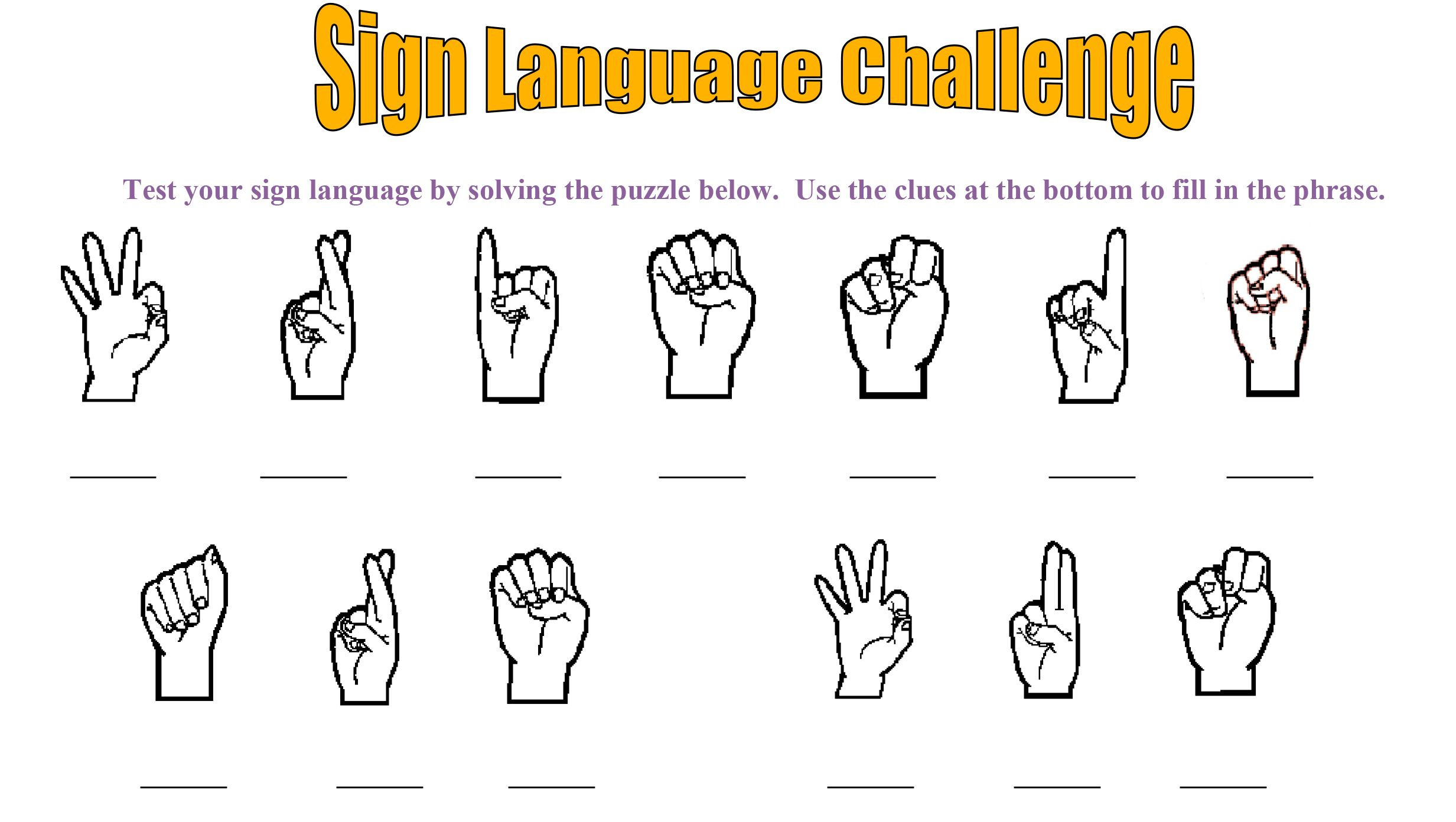 American Sign Language Worksheets Printable Disability Awareness Activity for Kids Sign Language