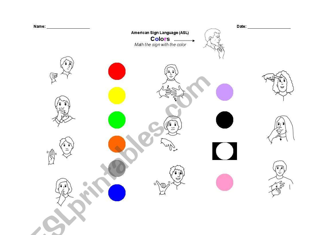 American Sign Language Worksheets Printable English Worksheets Colors In asl