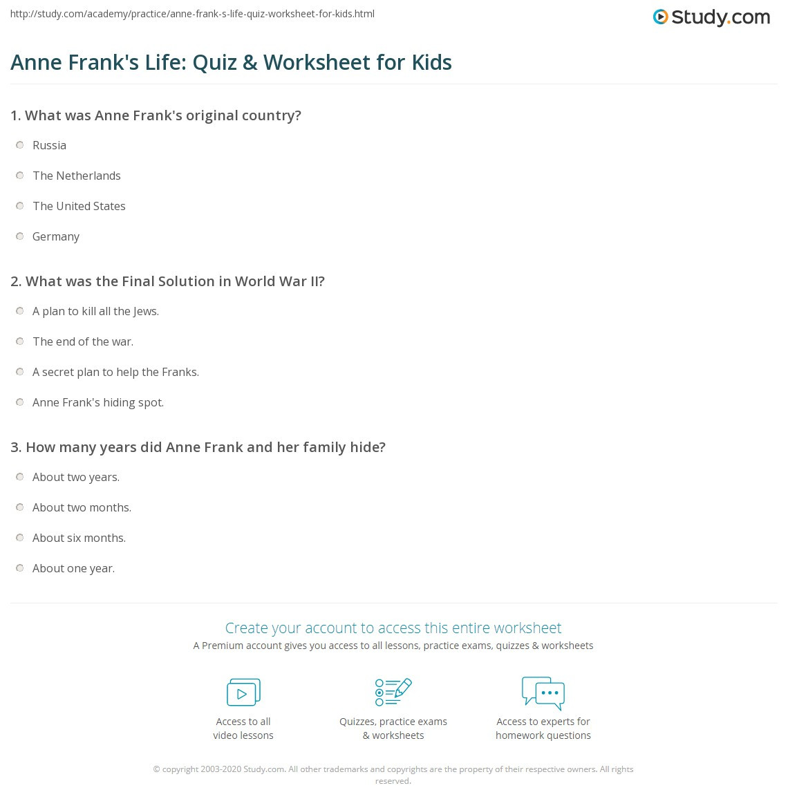 Anne Frank Worksheets Middle School Anne Frank S Life Quiz & Worksheet for Kids