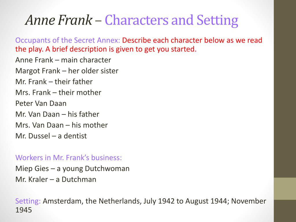 Anne Frank Worksheets Middle School Ppt Anne Frank – Characters and Setting Powerpoint