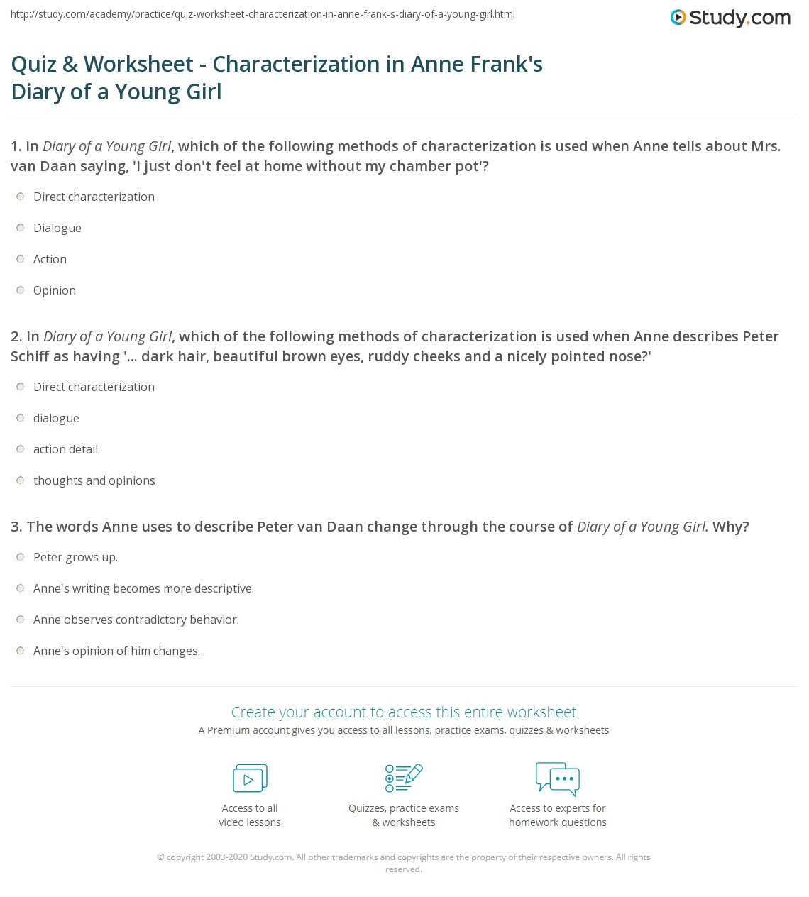 Anne Frank Worksheets Middle School Quiz & Worksheet Characterization In Anne Frank S Diary Of