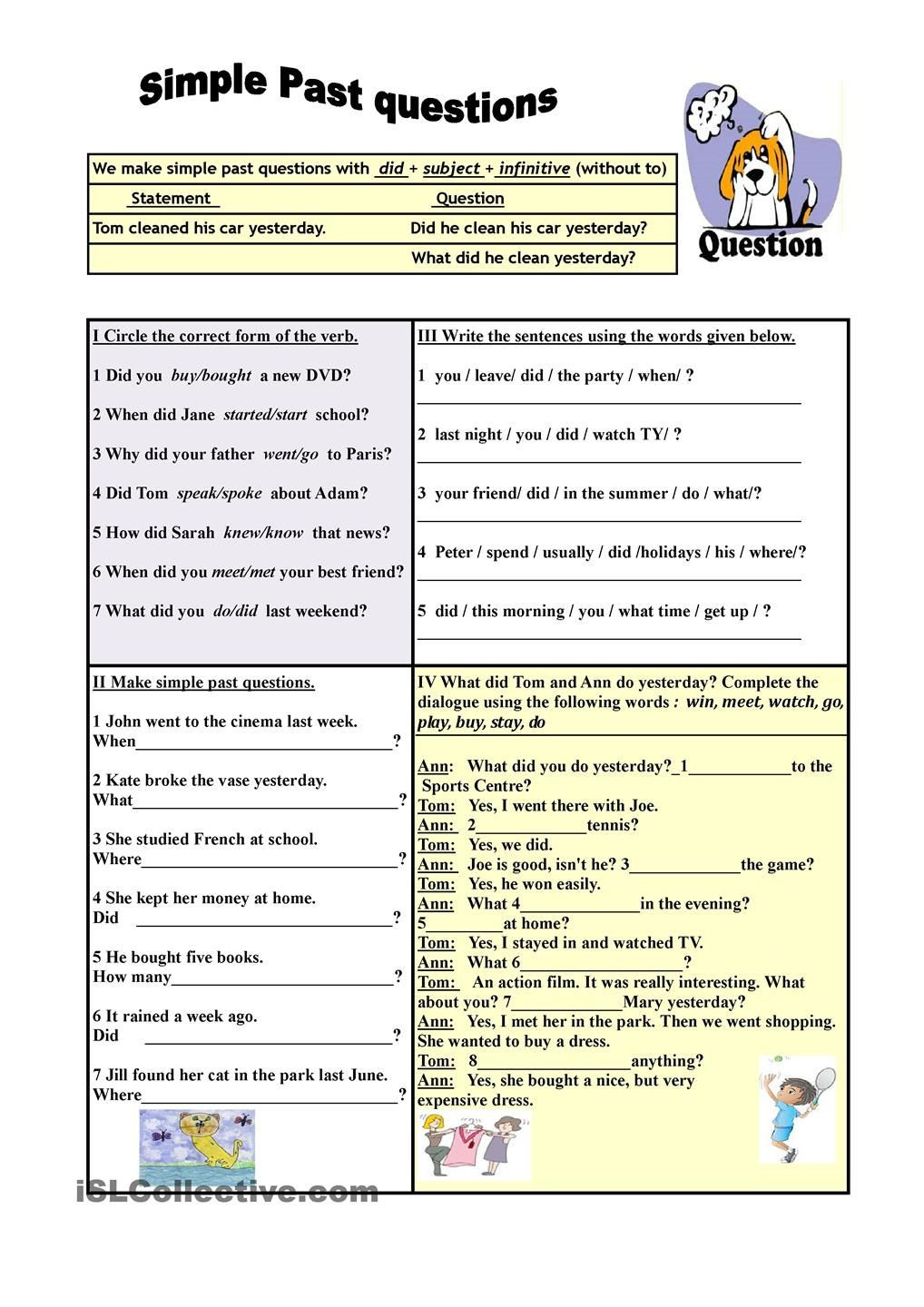Anne Frank Worksheets Middle School Simple Past Questions Exercises