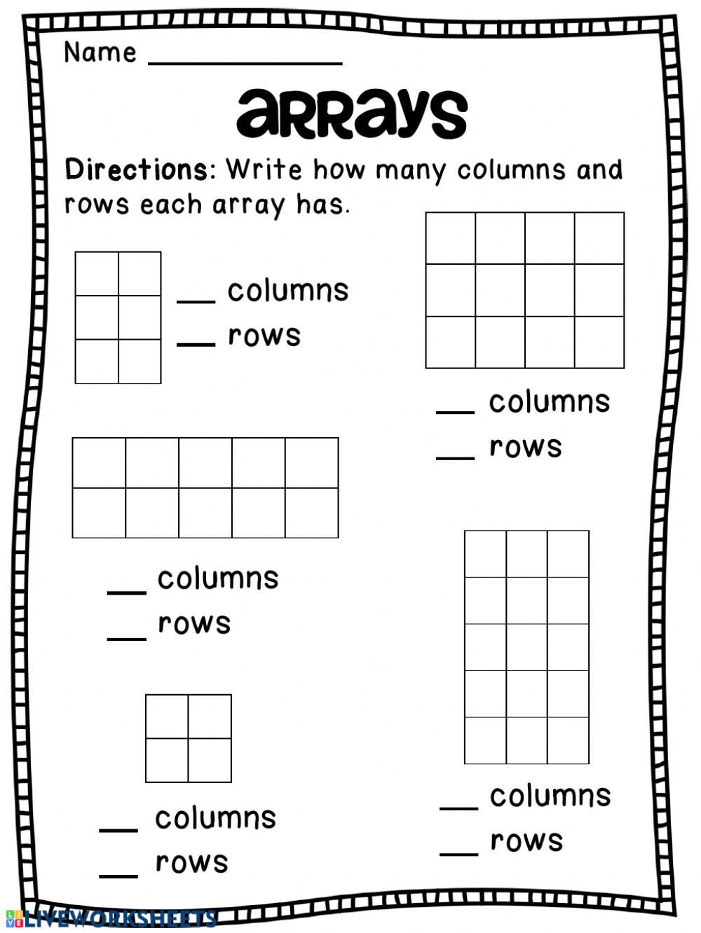 Array Math Worksheets Arrays Interactive Worksheet