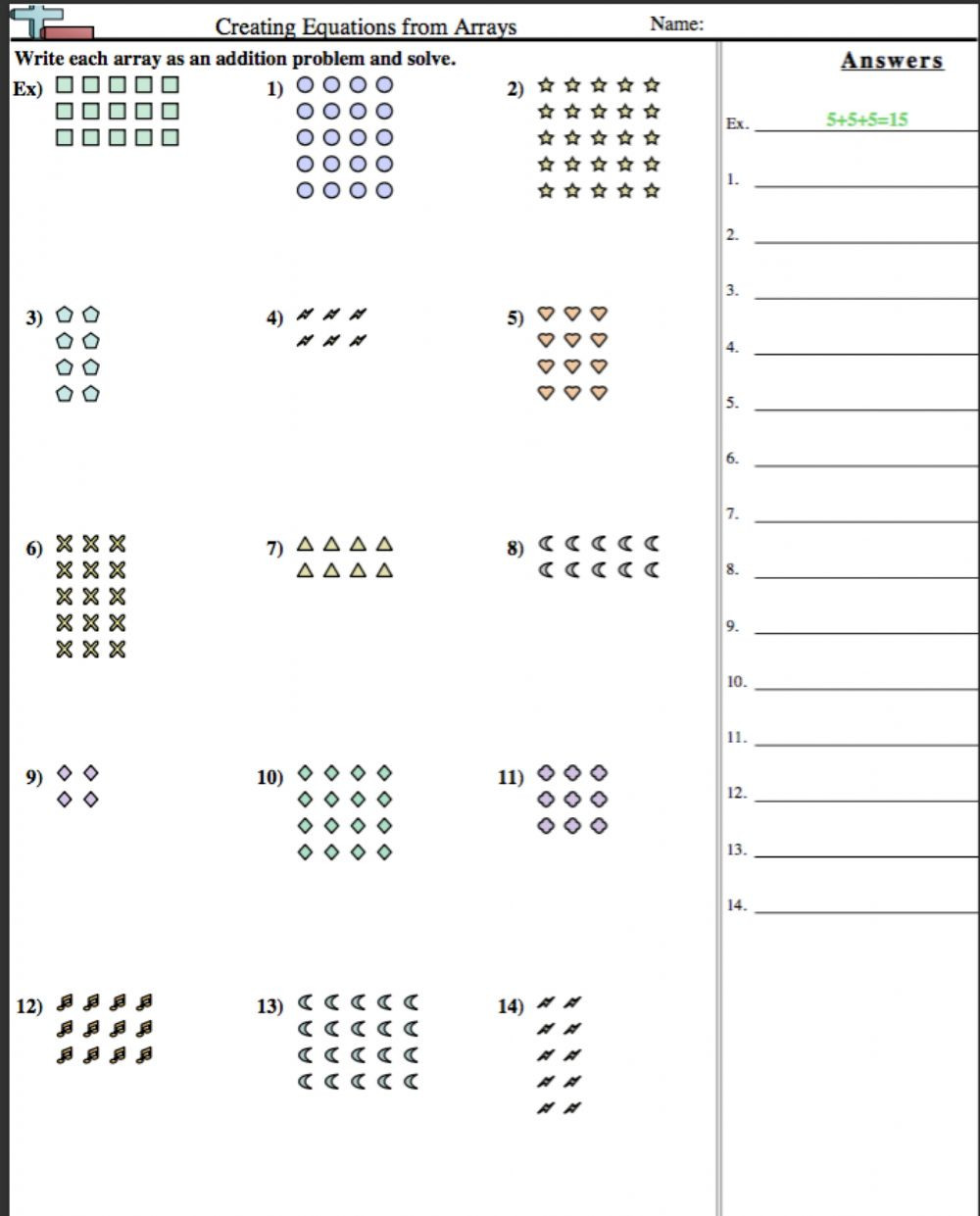 Array Math Worksheets Creating Equations From Arrays Interactive Worksheet