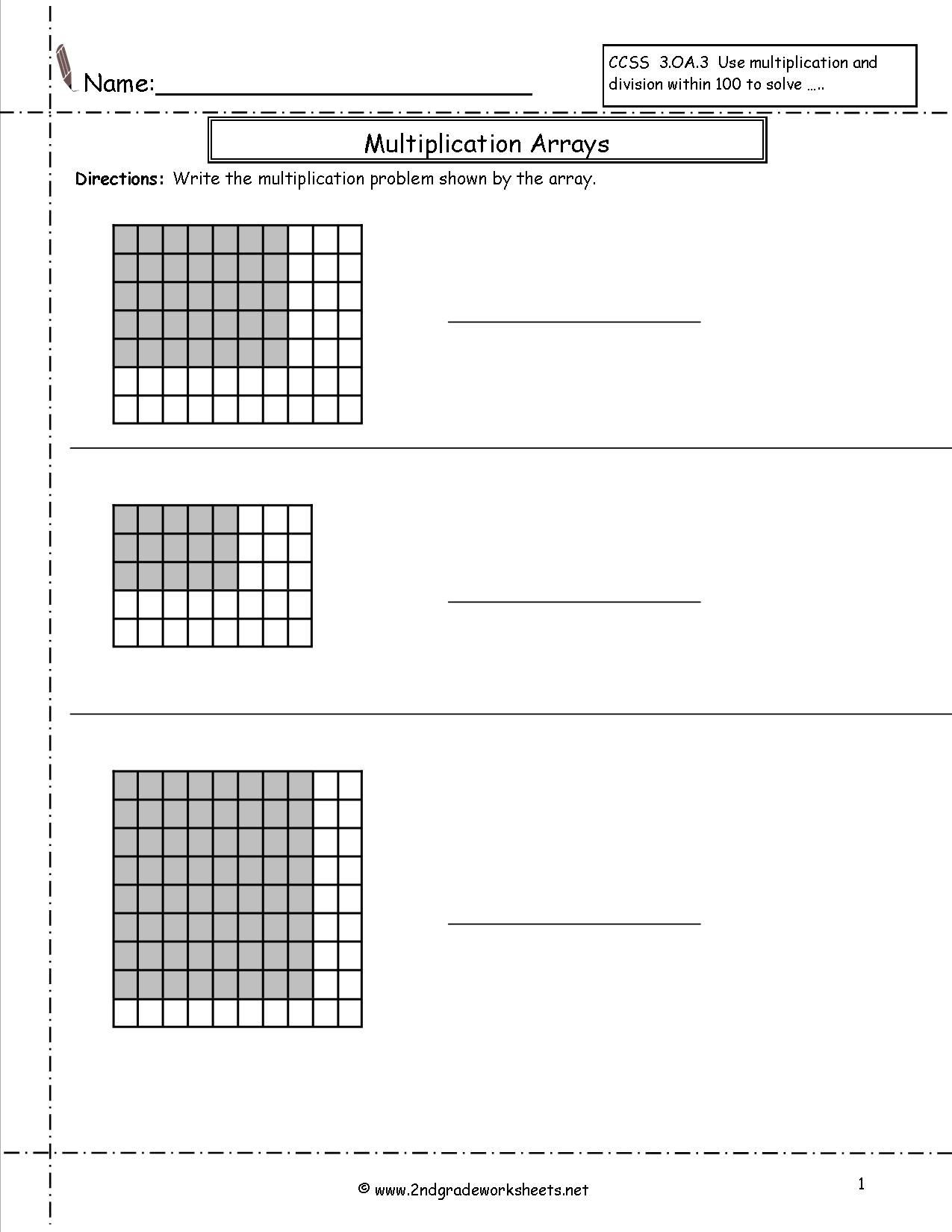 Array Math Worksheets Free 2ndgradeworksheets