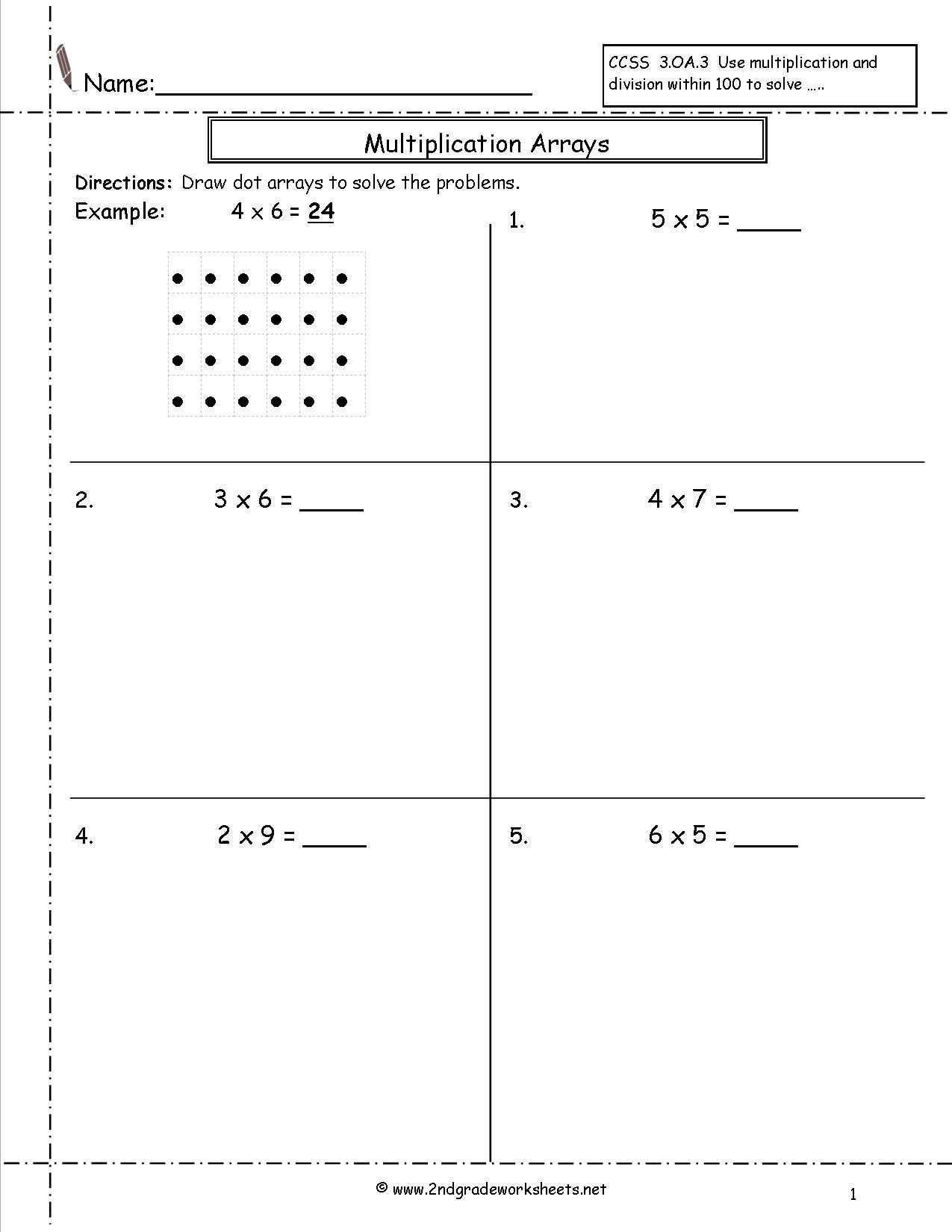 Array Math Worksheets Multiplication Arrays Worksheets