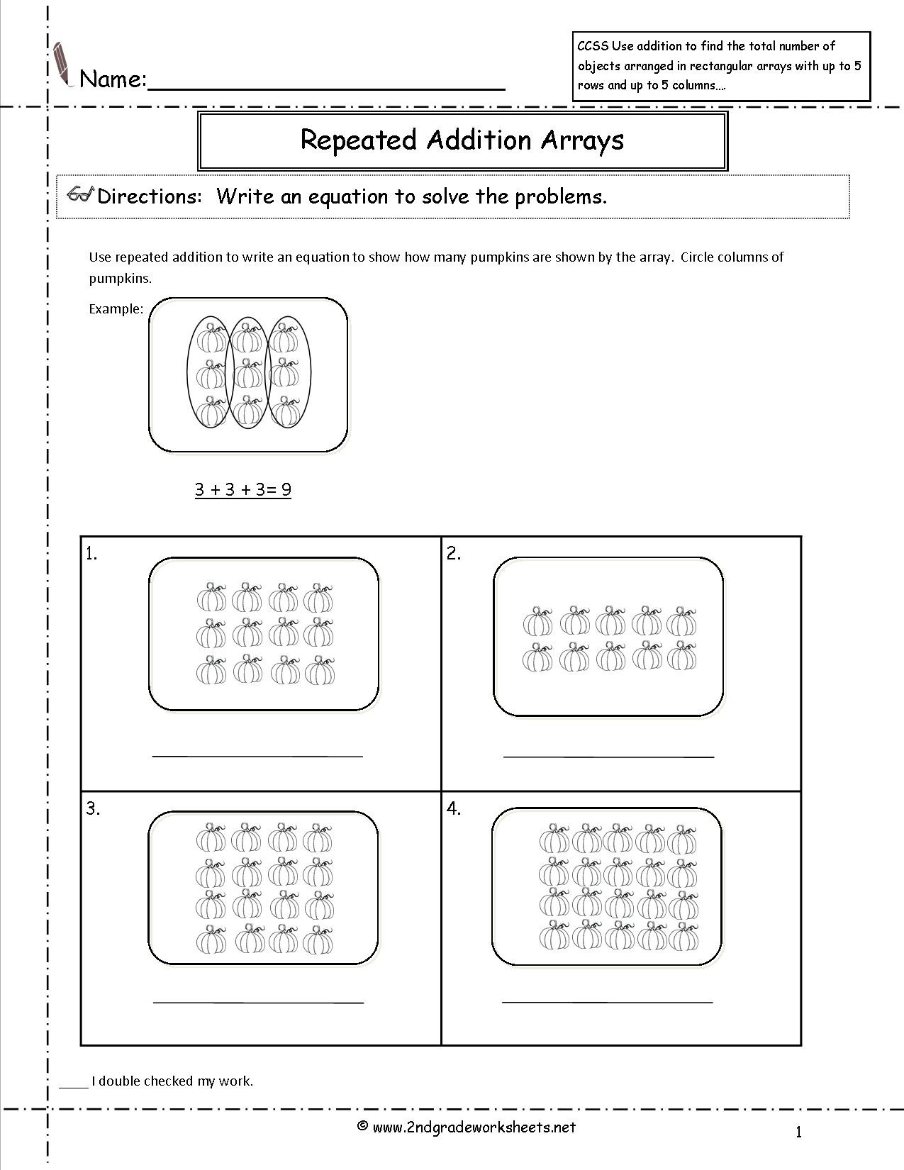 Array Math Worksheets Worksheet Multiplication Worksheet Array Word
