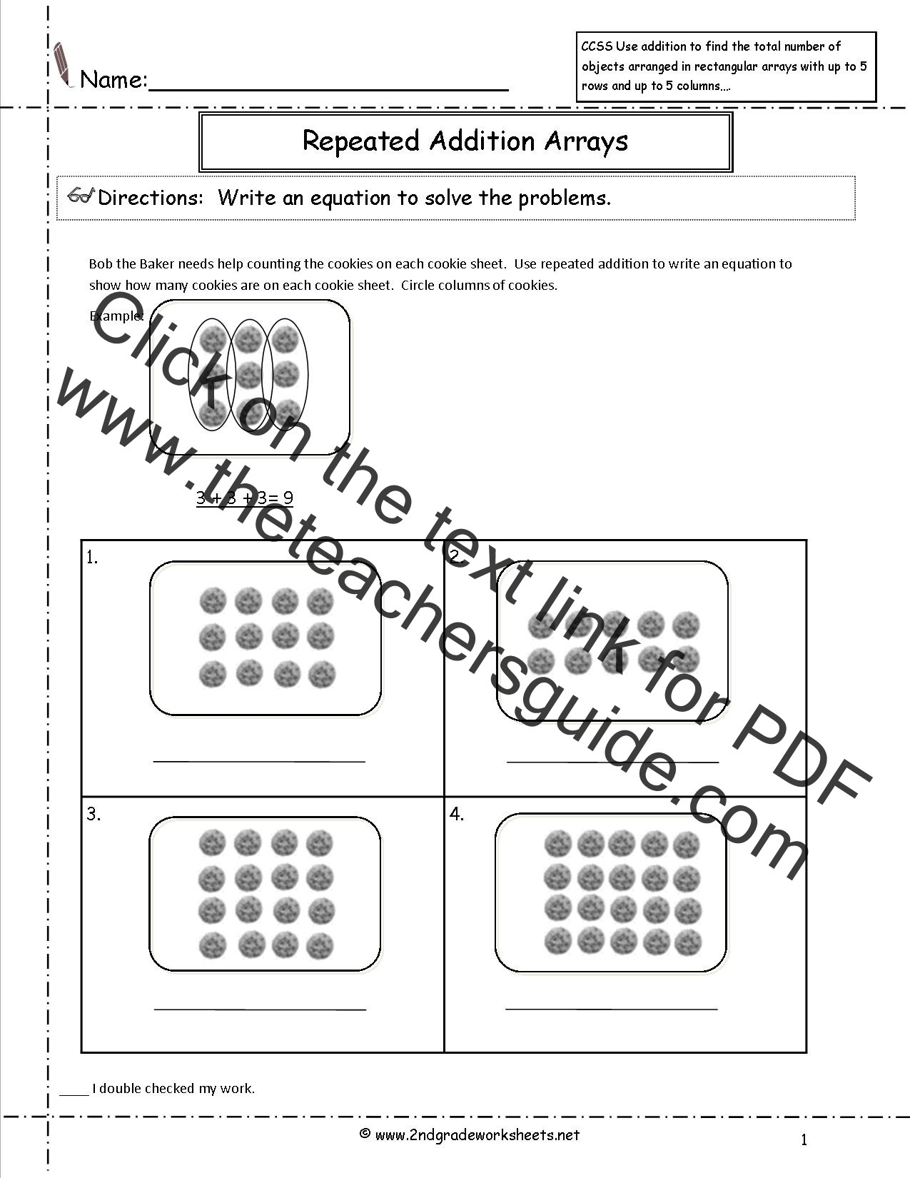 Arrays Worksheets Grade 2 Ccss 2 Oa 4 Worksheets