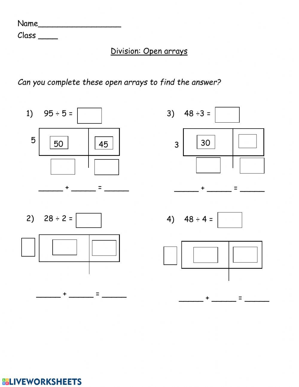Arrays Worksheets Grade 2 Division Open Arrays Interactive Worksheet