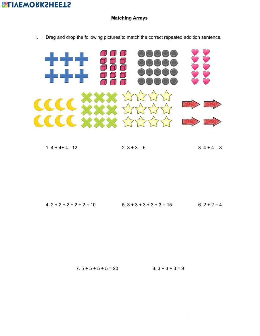 Arrays Worksheets Grade 2 Matching Arrays Interactive Worksheet