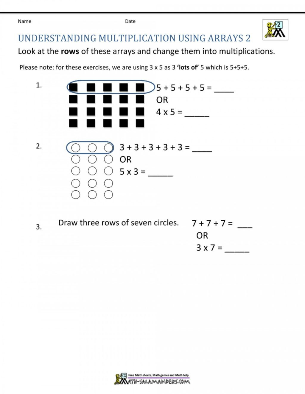 Arrays Worksheets Grade 2 Worksheet Worksheet Free Mathksheets Second Grade