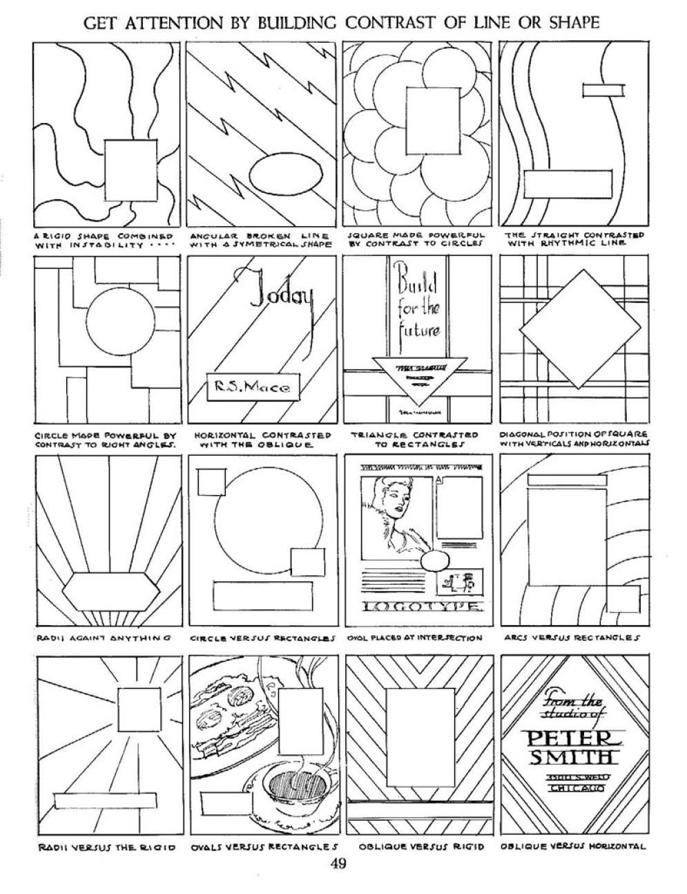 Art Worksheets Middle School Contrasting Lines and Shapes In Position …