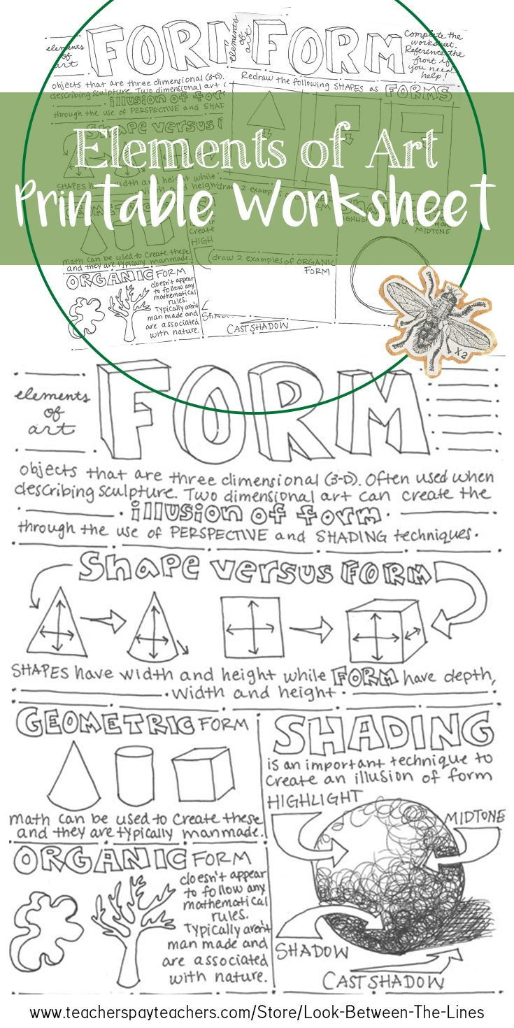 Art Worksheets Middle School form Elements Of Art Printable Worksheet Middle School Art