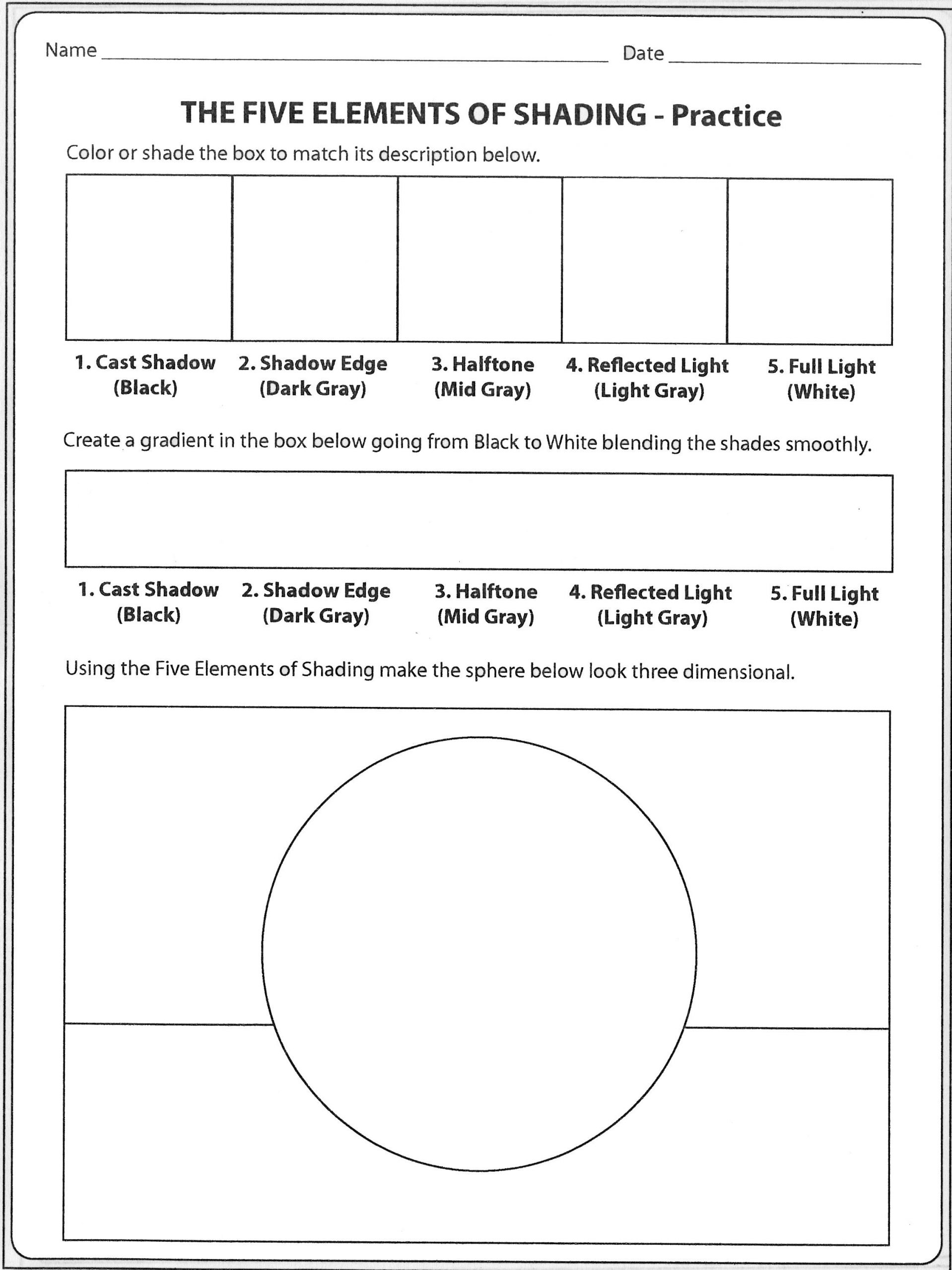Art Worksheets Middle School formshading Practicesheet Pt1 2256—3011