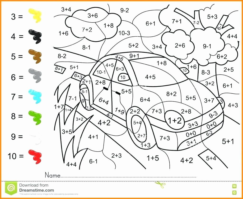 Automotive Math Worksheets Coloring Math Activities for Middle School