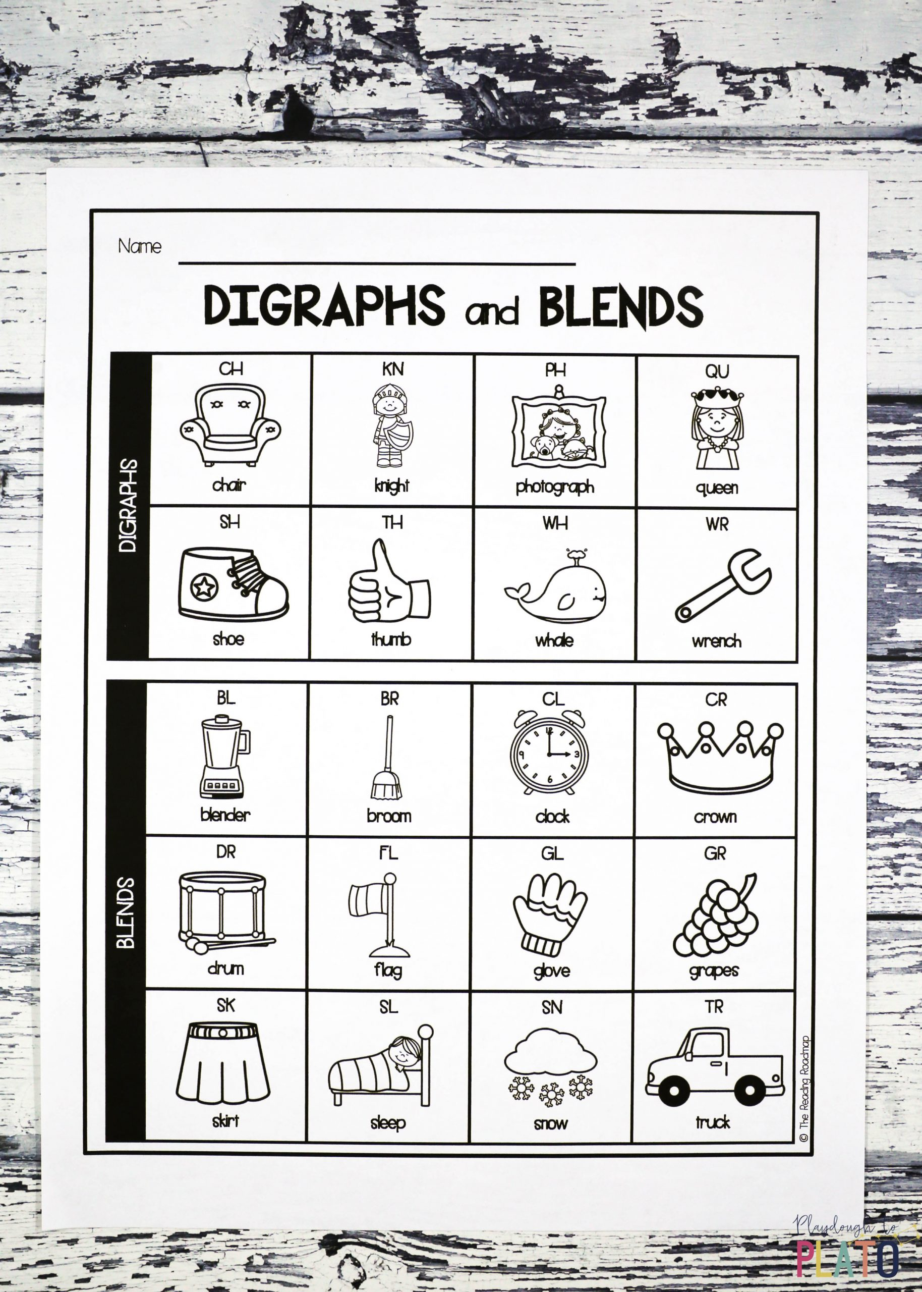 Blends Worksheets for 1st Grade Digraph and Blend Chart Playdough to Plato