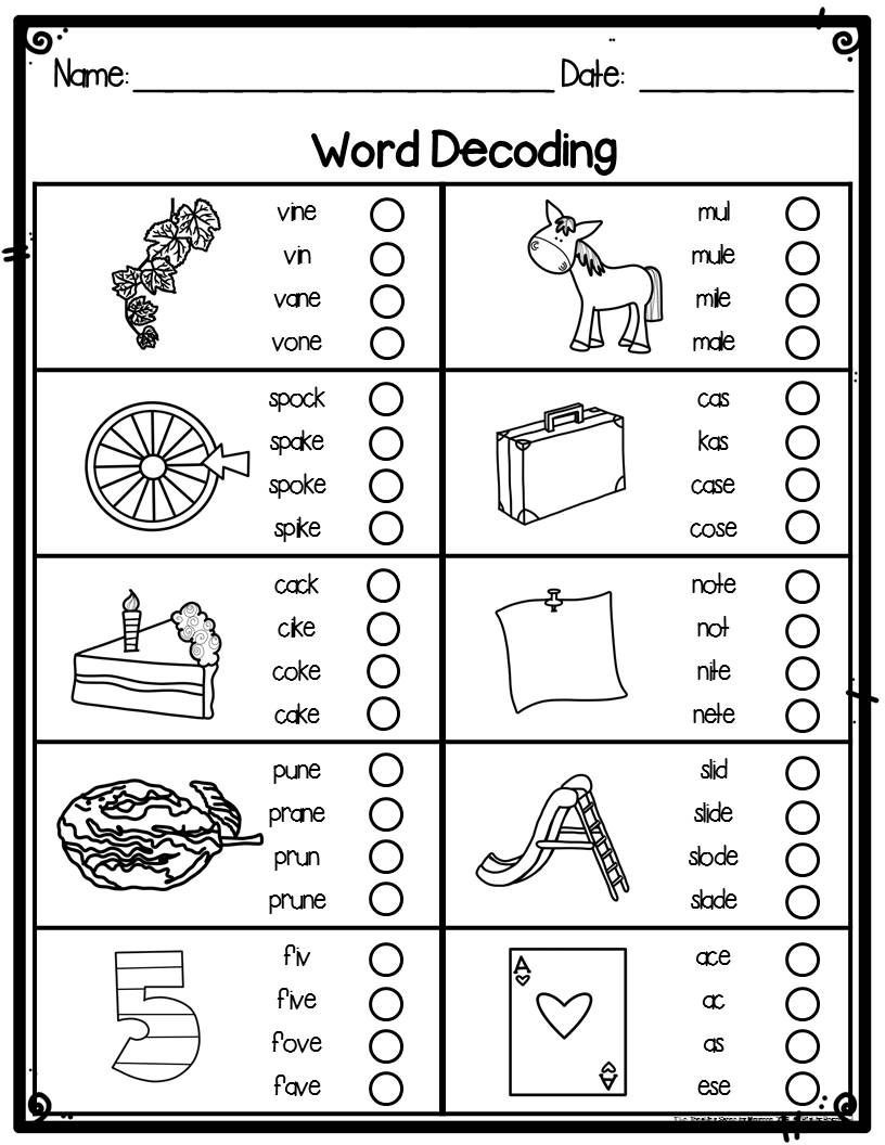 Blends Worksheets for 1st Grade First Grade Word Decoding Practice Worksheets or assessments