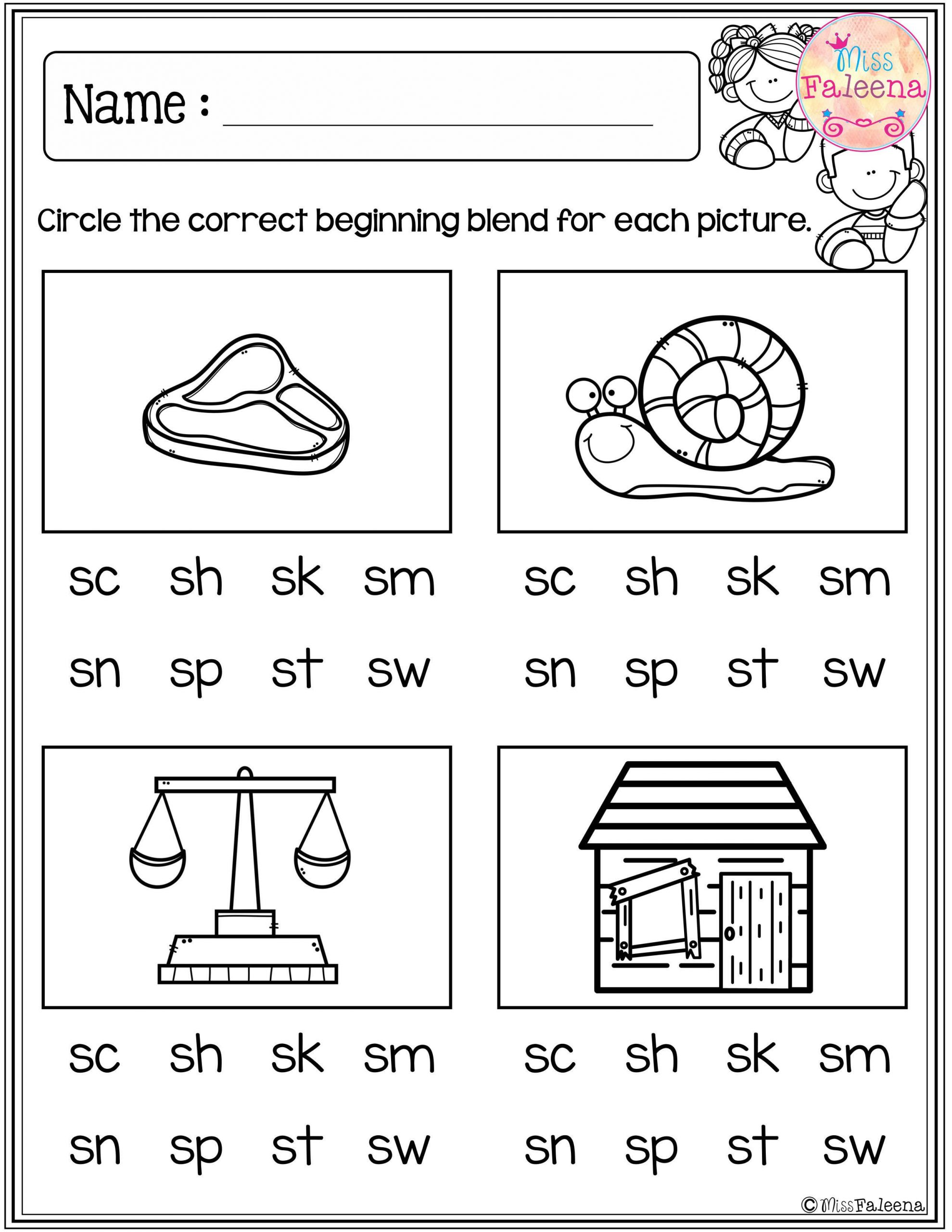 Blends Worksheets for 1st Grade these are Free Samples From My Kindergarten Morning Work