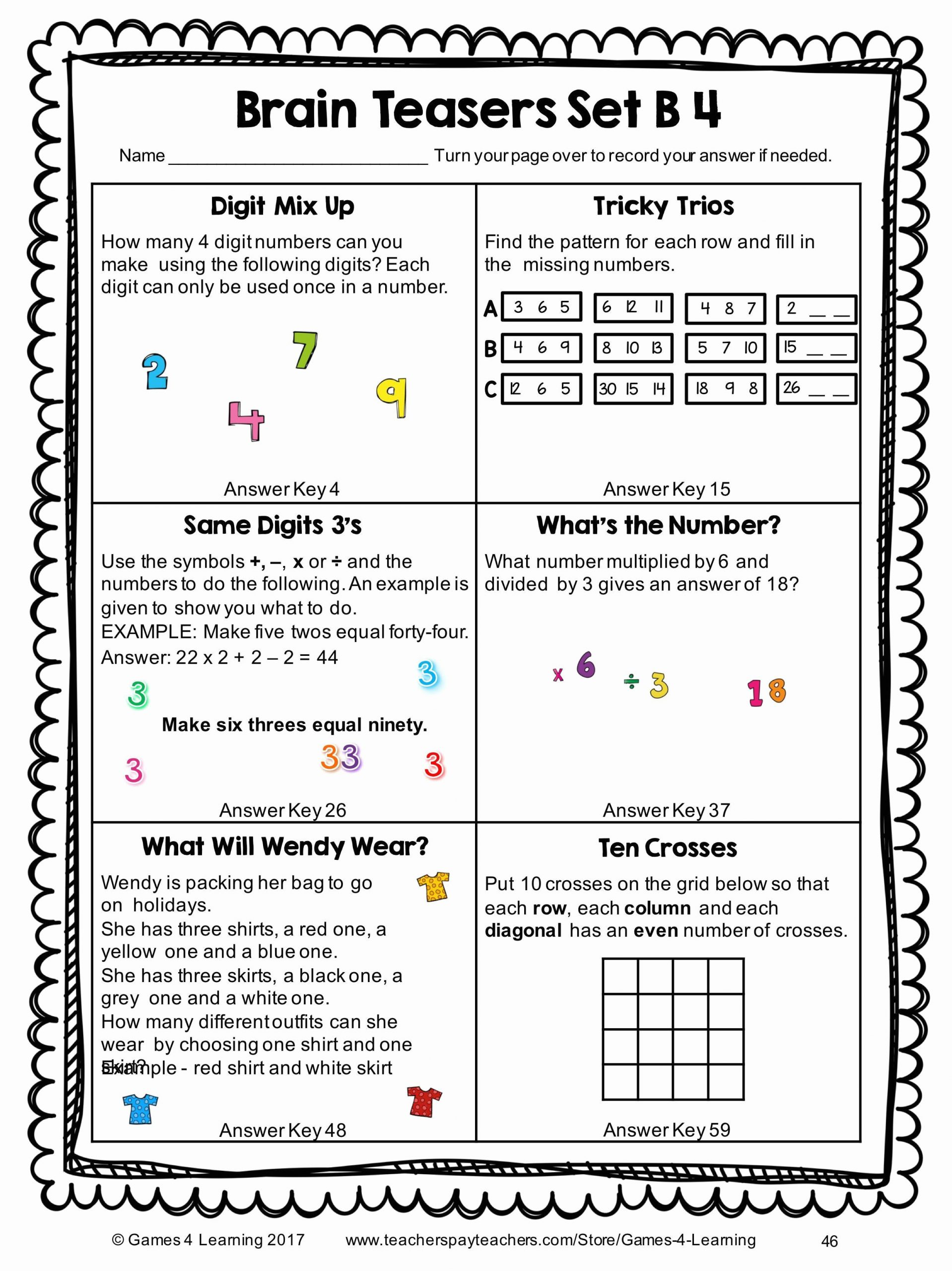 Brain Teasers Printable Worksheets 6th Grade Brain Teasers Worksheets