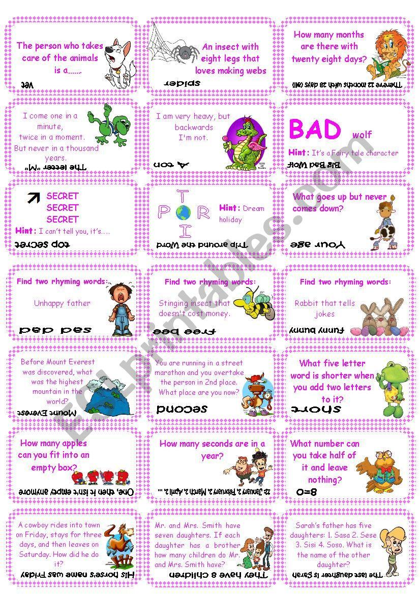 Brain Teasers Printable Worksheets Brain Teasers Riddles & Puzzles Card Game Set 1 Esl